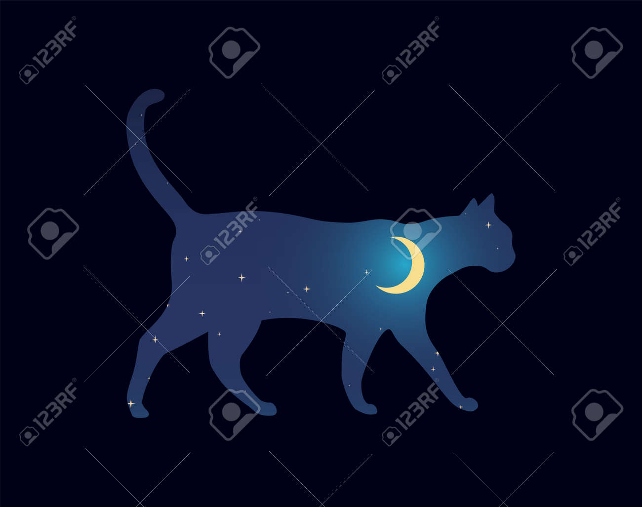 Sillouette cat walking at night. Starry Sky Moon. Vector Illustration - 172815661