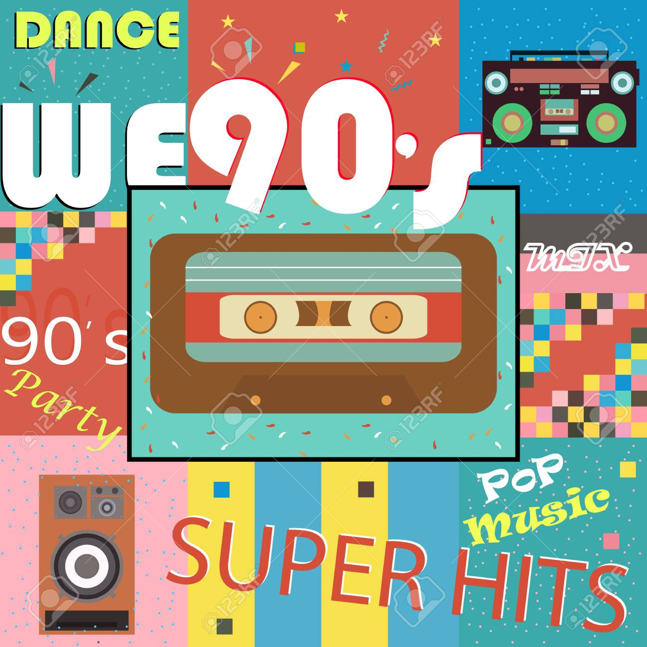 Retro-style club, background, fashion, pop music of the 90s and