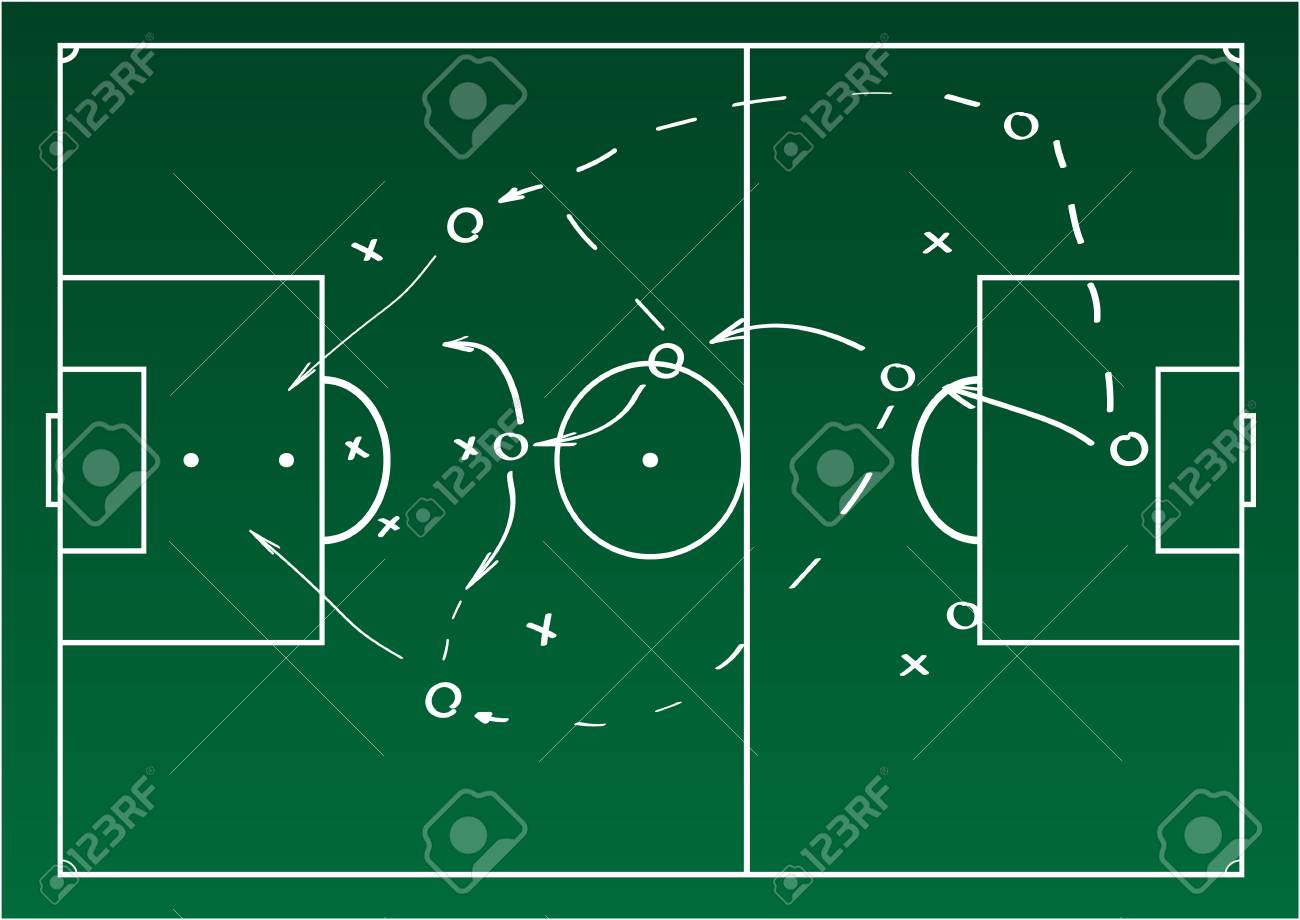233178438 Soccer or football game strategy plan. Realistic blackboard. Vector  illustration. Sport infographics element