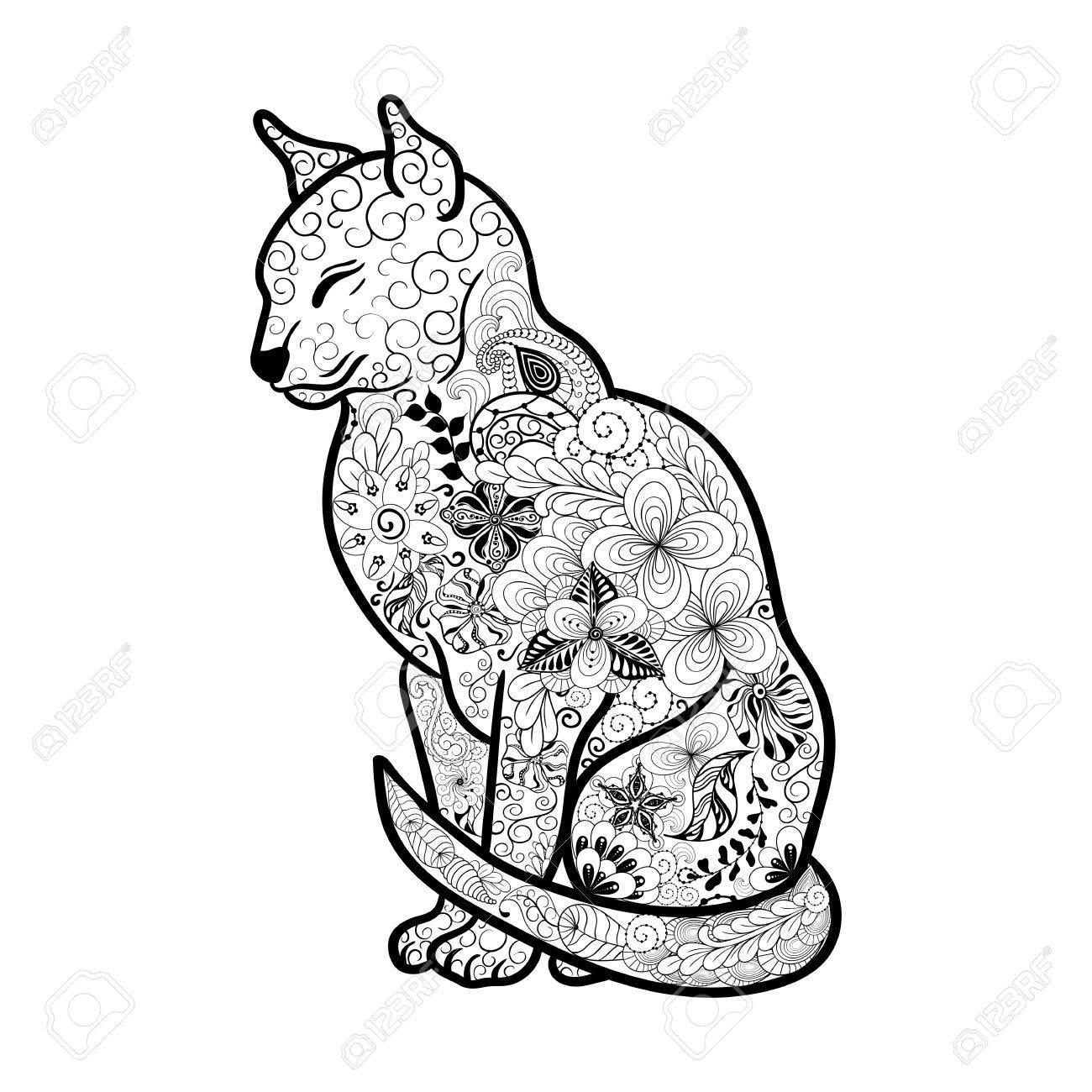 Illustrazione Cat è Stata Creata A Scarabocchiare Stile Nei Colori