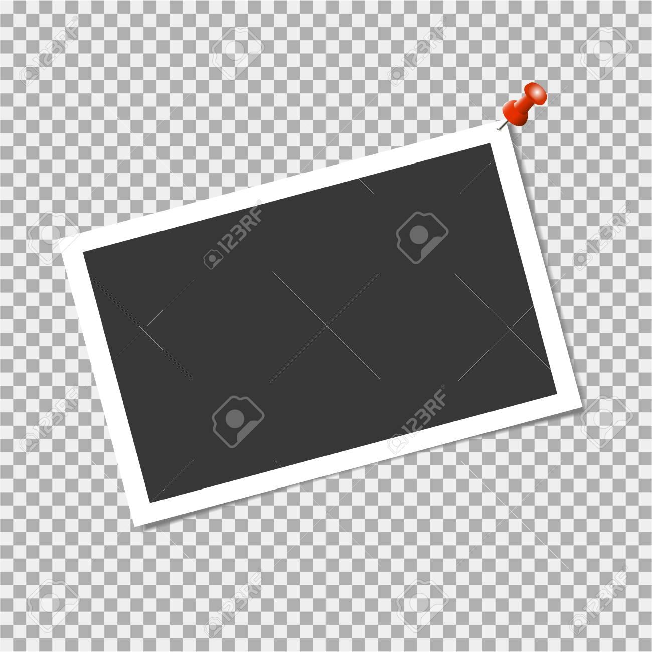 Cadre photo avec épingle sur fond transparent. Modèle vectoriel, vide pour photo ou image à la mode et élégant