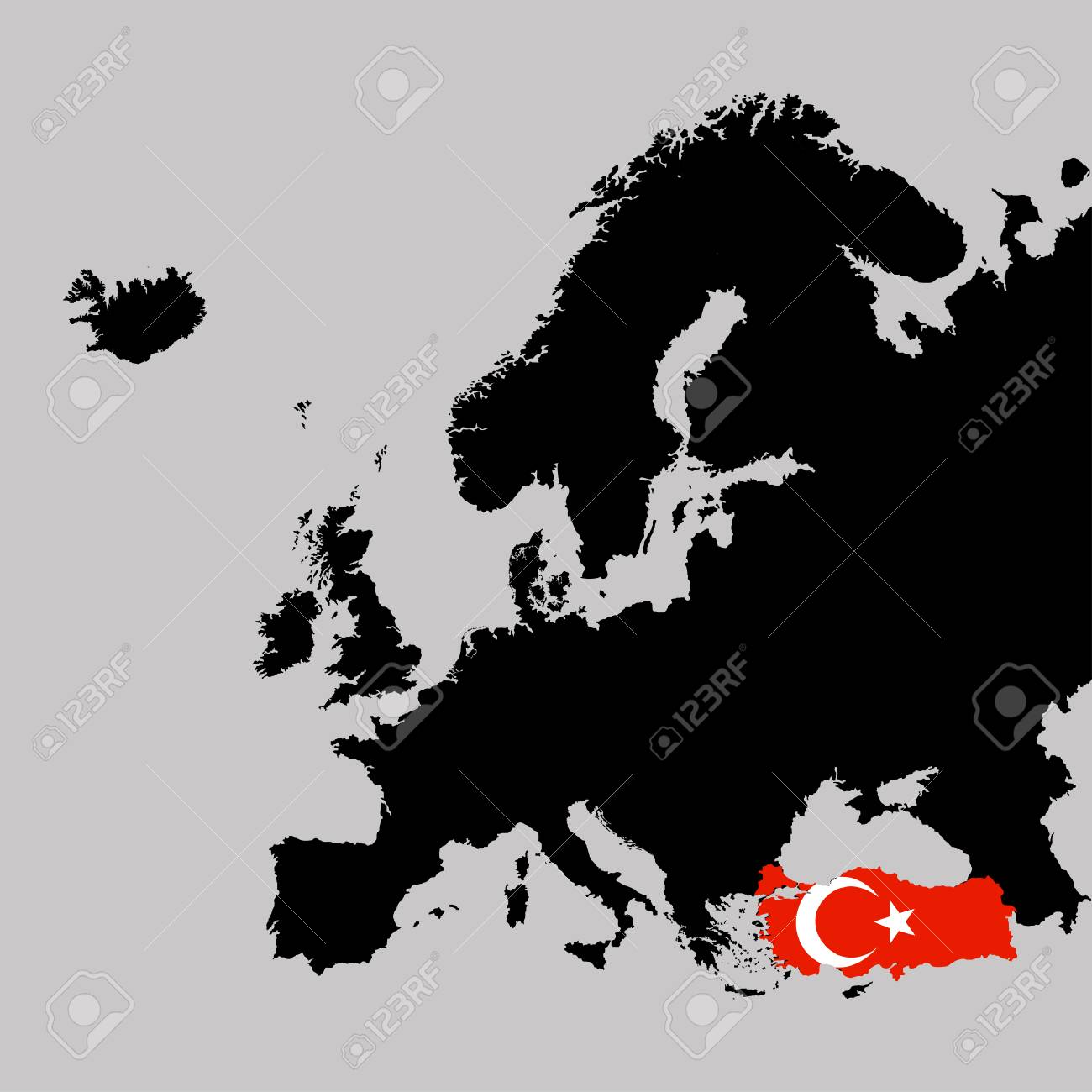Turkey On Europe Map.Territory Of Turkey On Europe Map On A Grey Background Royalty Free