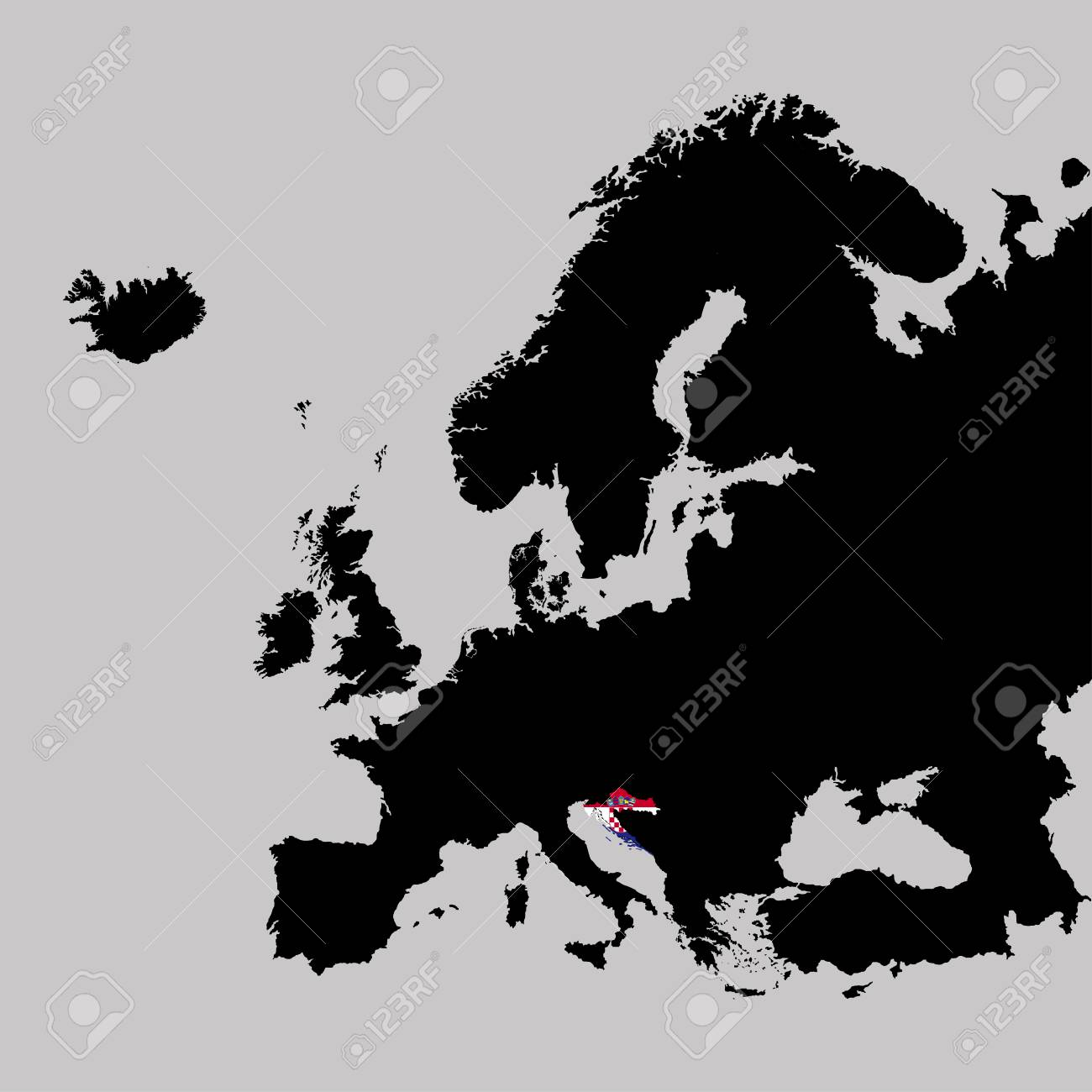 Territory Of Croatia On Europe Map On A Grey Background Royalty Free