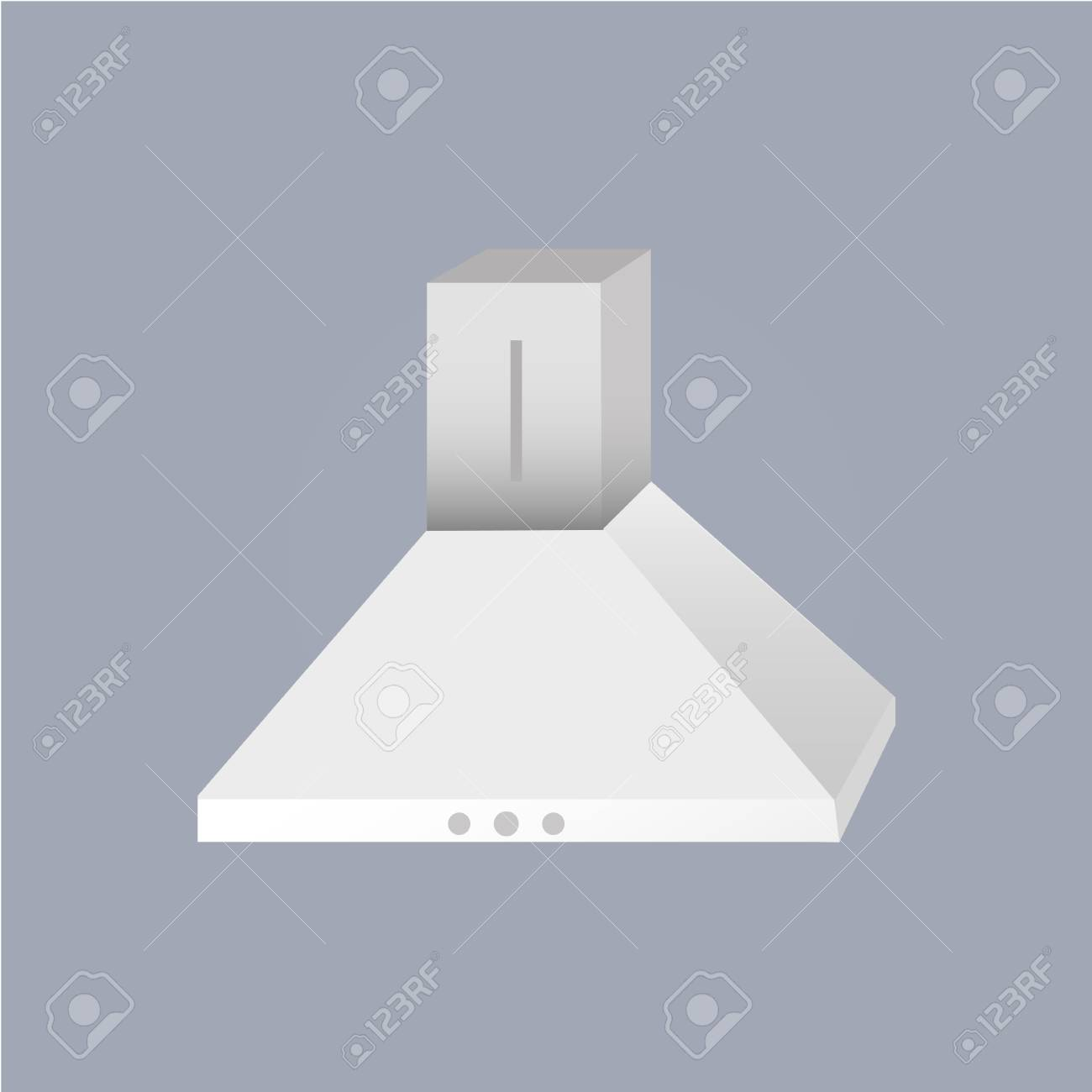 Metallic kitchen extractor fan, cooker hood isolated on grey..