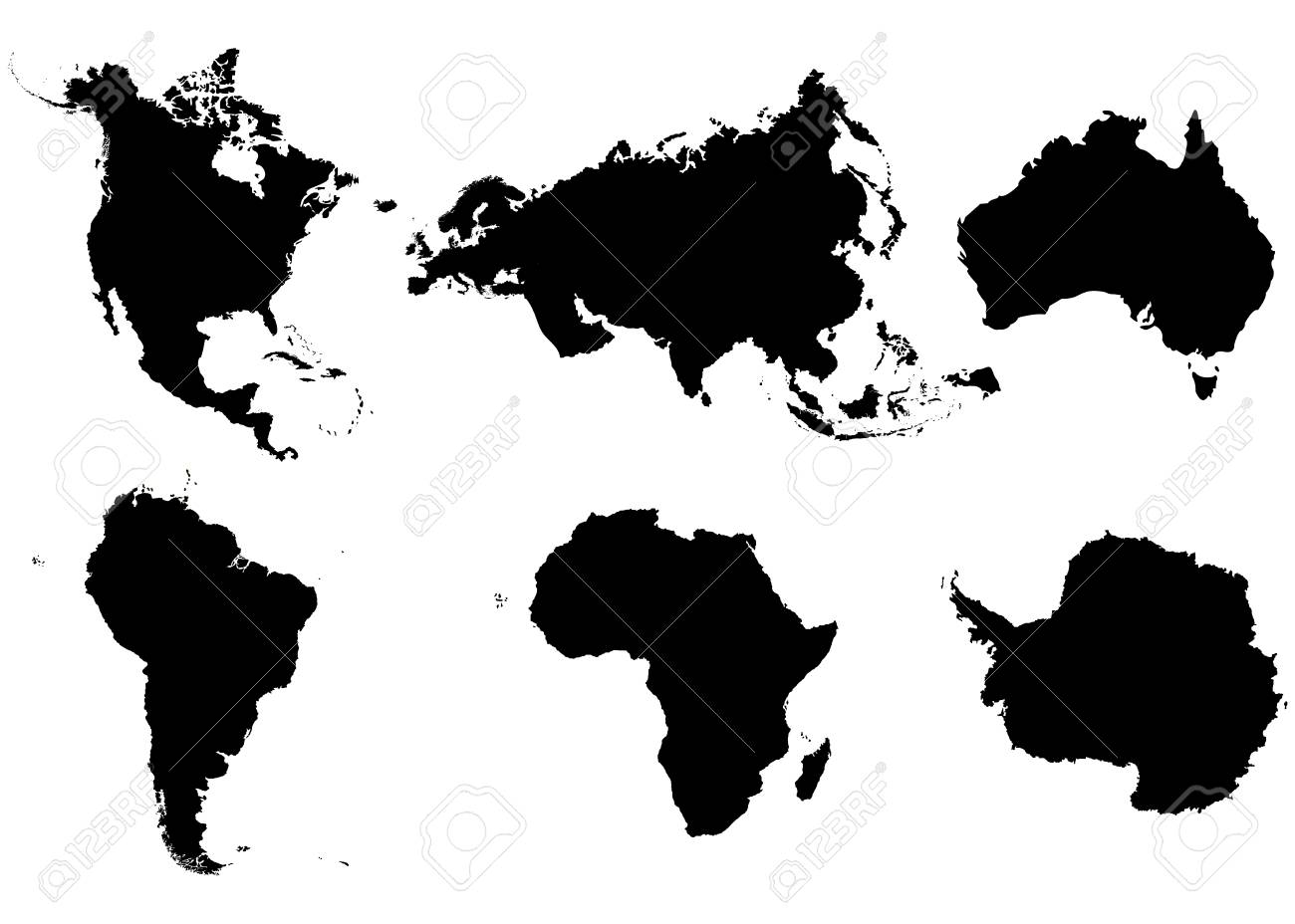 continents north america south america eurasia africa antarctica