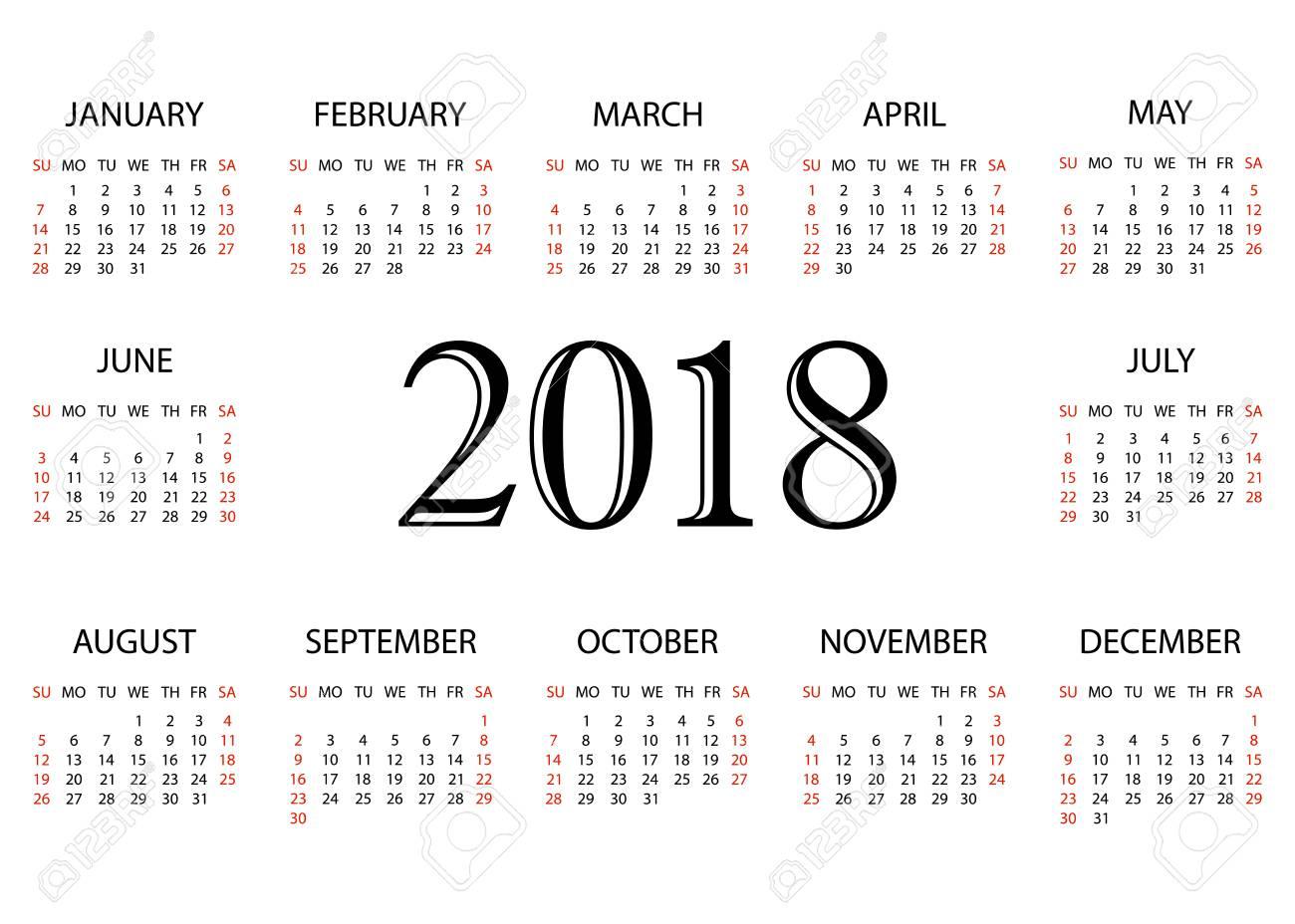 calendar 2018 simple calendar template for year 2018 white background vector illustration stock