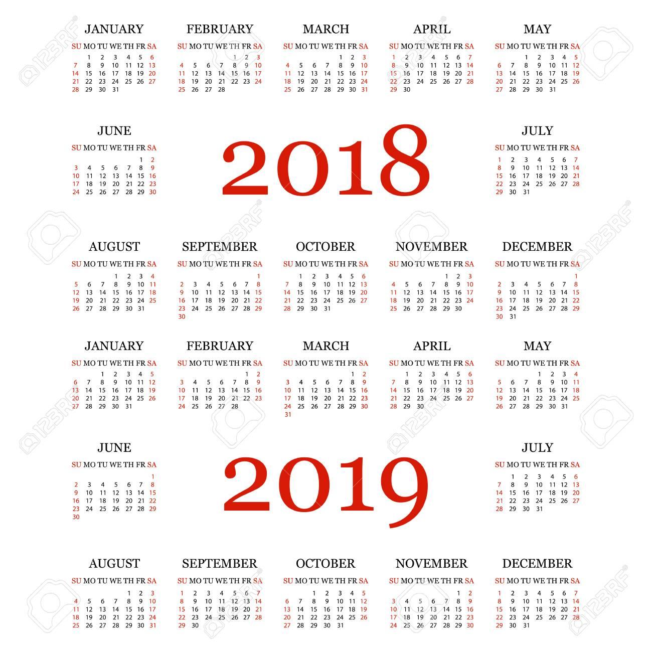 Calendario 2018 2019.Calendar 2018 2019 Simple Calendar Template For Year 2018 And