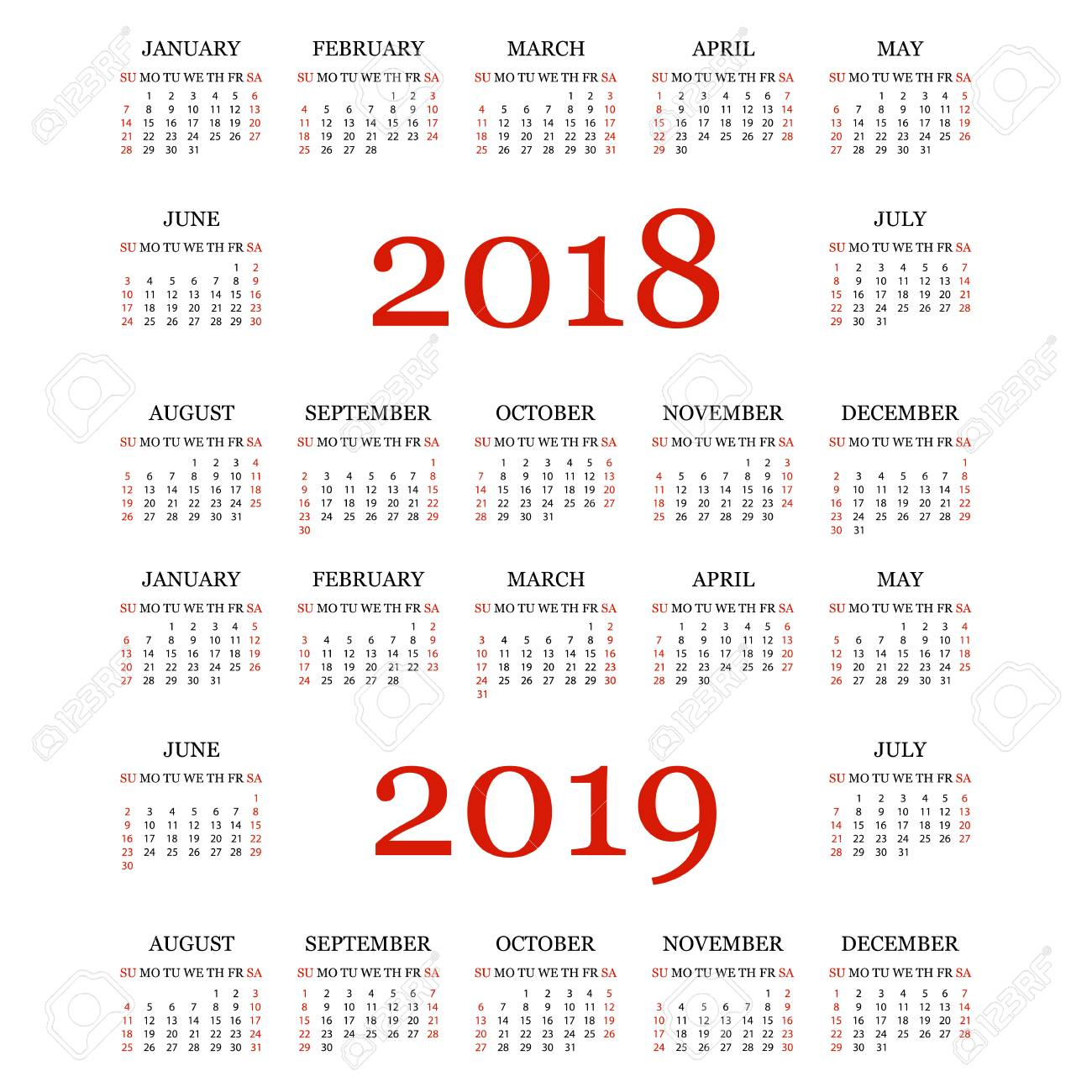 Calendario En Blanco.Calendario 2018 2019 Plantilla De Calendario Simple Para El Ano 2018 Y 2019 Fondo Blanco Ilustracion Vectorial