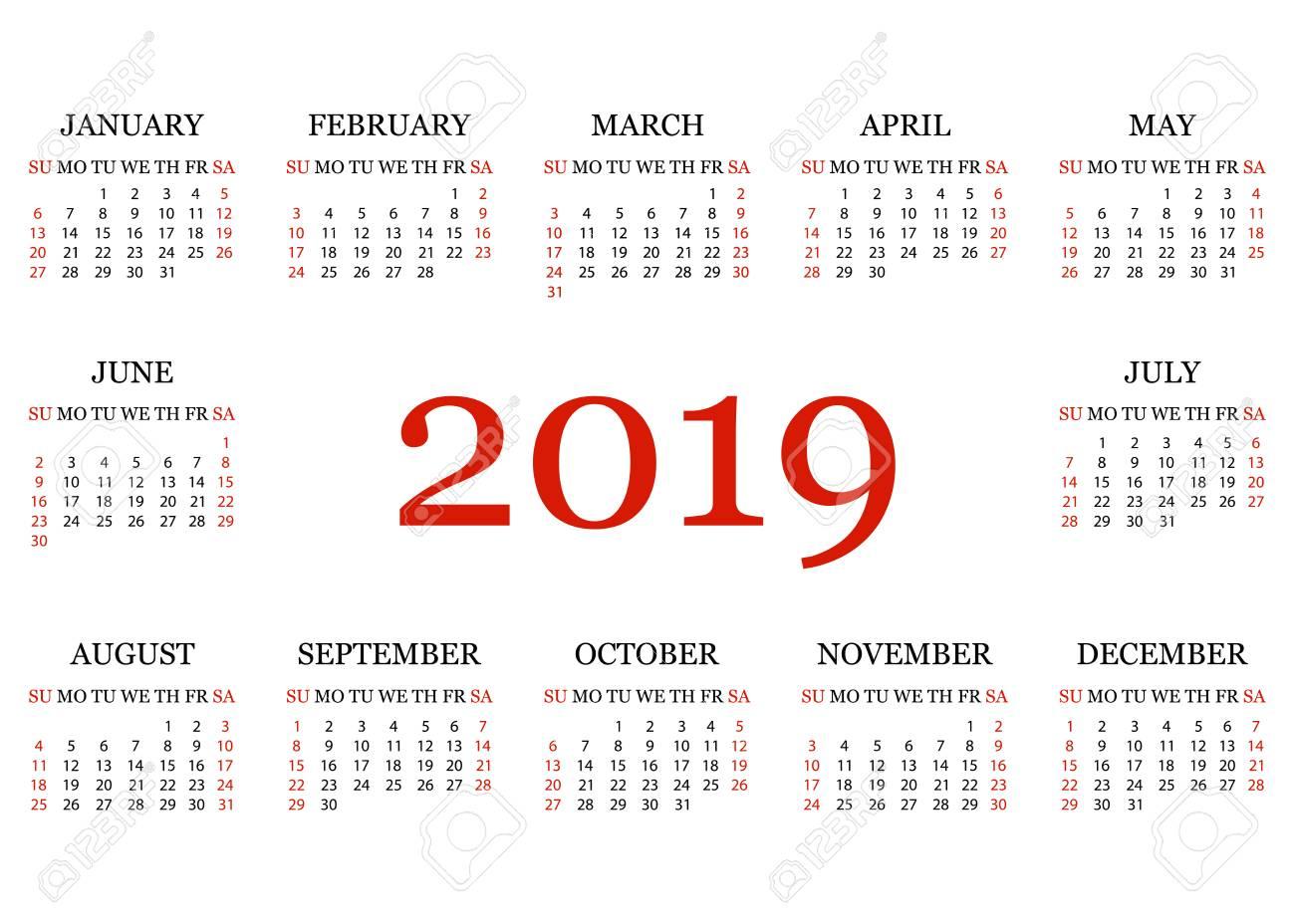 Calendar 2019  Simple Calendar template for year 2019  White