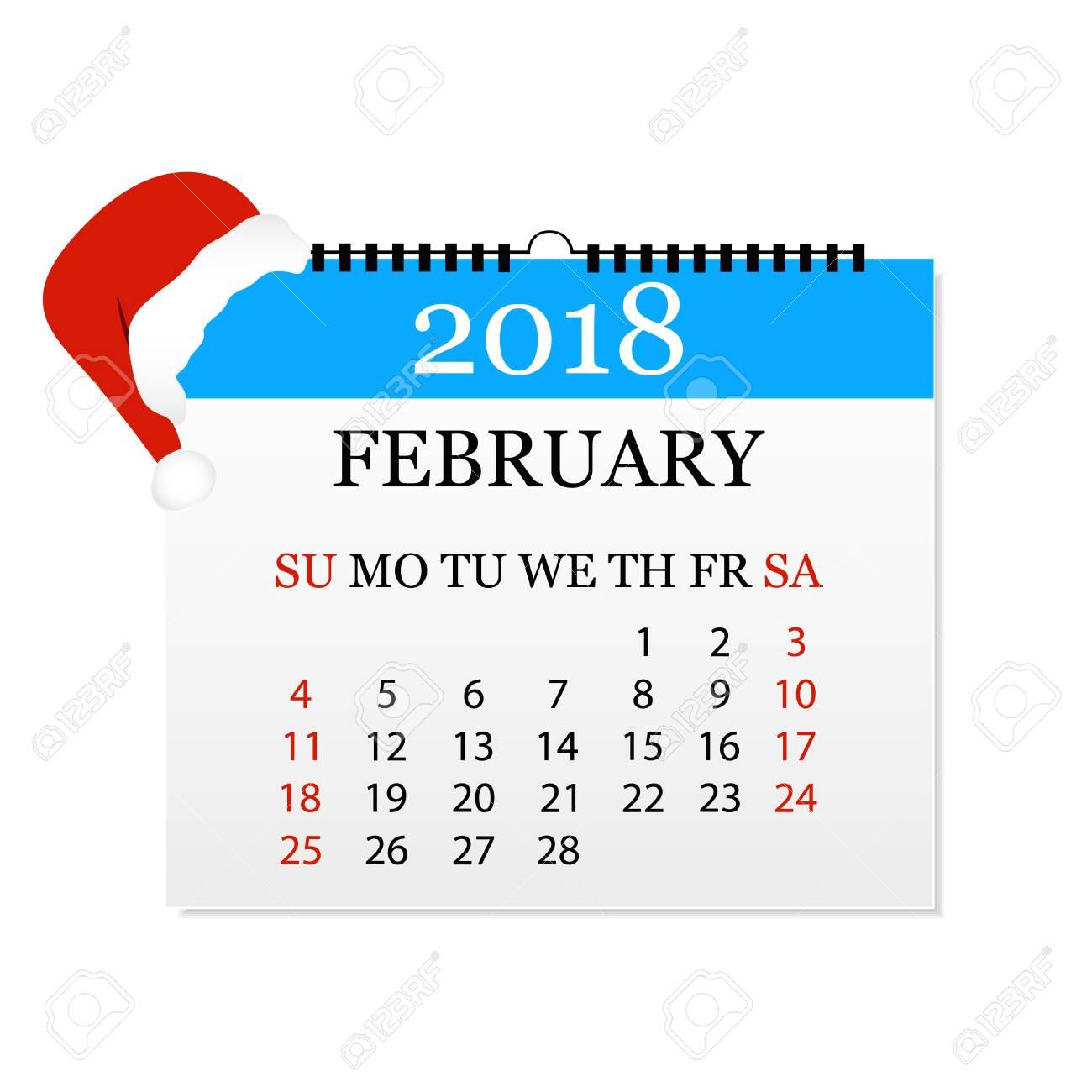 monthly calendar 2018 tear off calendar for february white background vector illustration