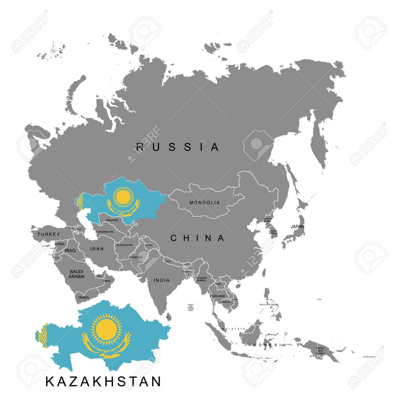 Territory of Kazakhstan on Asia continent. Flag of Kazakhstan... on map of southeast asia, map of indian ocean, map of uzbekistan, map of sri lanka, map of usa, map of nepal, map of moldova, map of canada, map of macau, map of ethiopia, map of belarus, map of northern asia, map of central asia, map of dagestan, map of azerbaijan, map of korea, map of aral sea, map of pakistan, map of kyrgyzstan, map of finland,