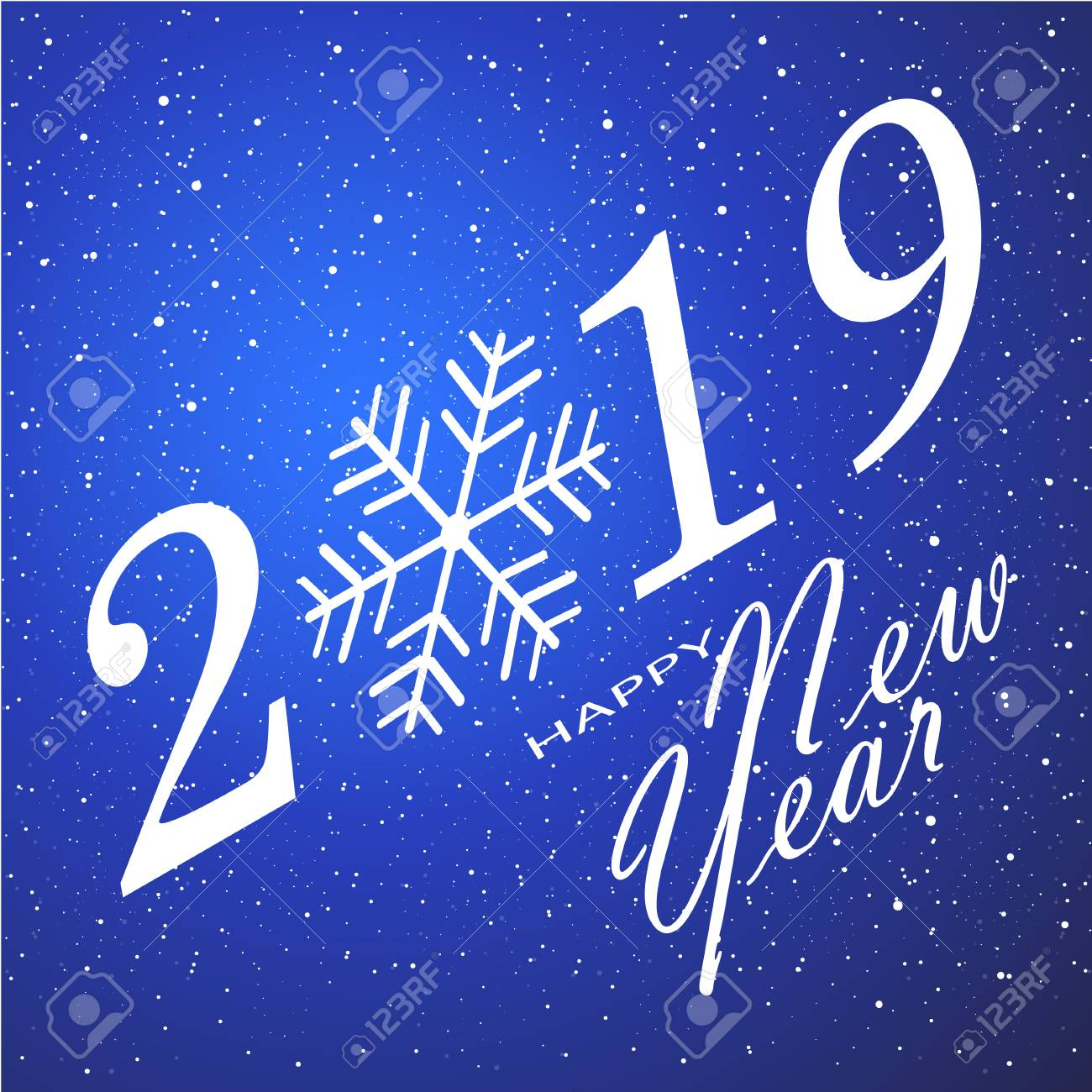 merry christmas and happy new year 2019 blue background vector illustration stock vector
