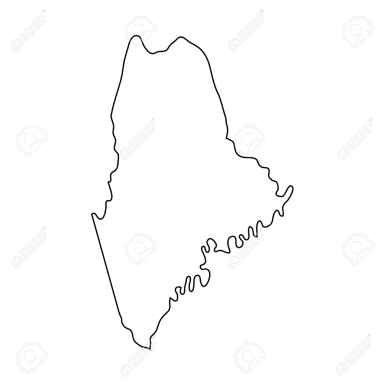 Maine - U.S. state. Contour line in black color. - 134074597