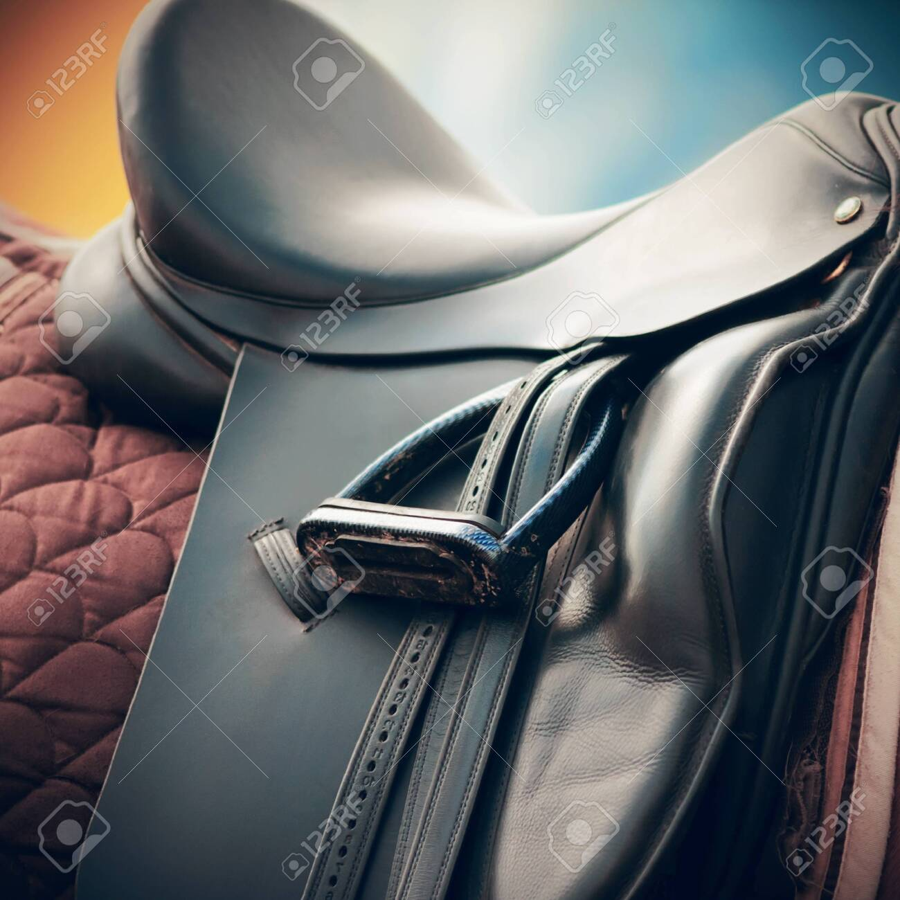 Black Horse Leather Saddle Brown Saddle Blanket And Stirrups Stock Photo Picture And Royalty Free Image Image 133622706