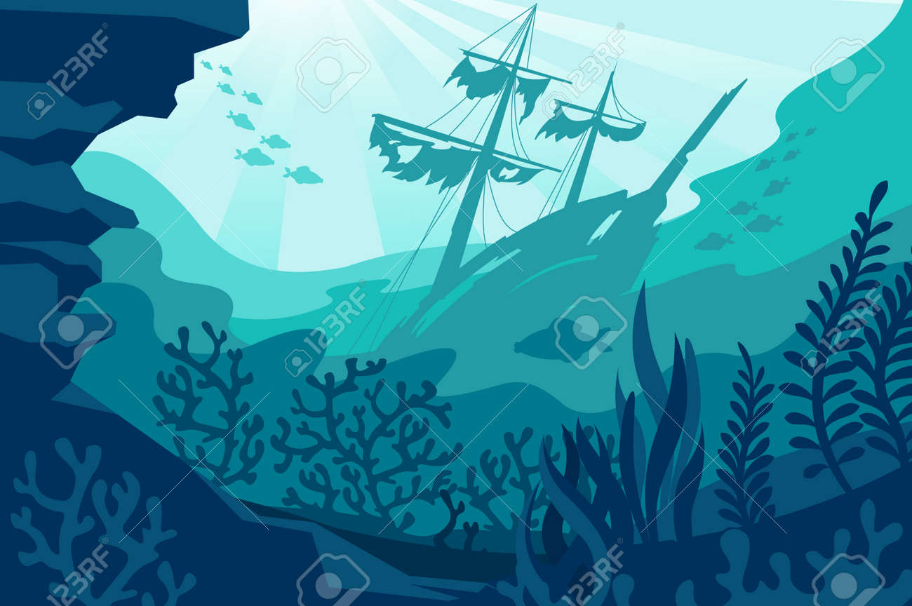 Sea underwater background. Deep ocean bottom with seaweeds, sunken ship, coral and fishes silhouettes. Undersea diving quiet seascape vector panorama. Wild fauna life with wrecked vessel - 168659253