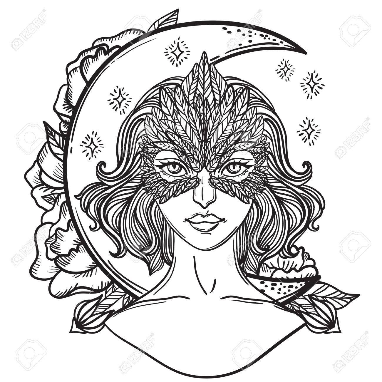 Ilustración Del Vector De La Muchacha Con La Máscara De Halcón Y Mes ...