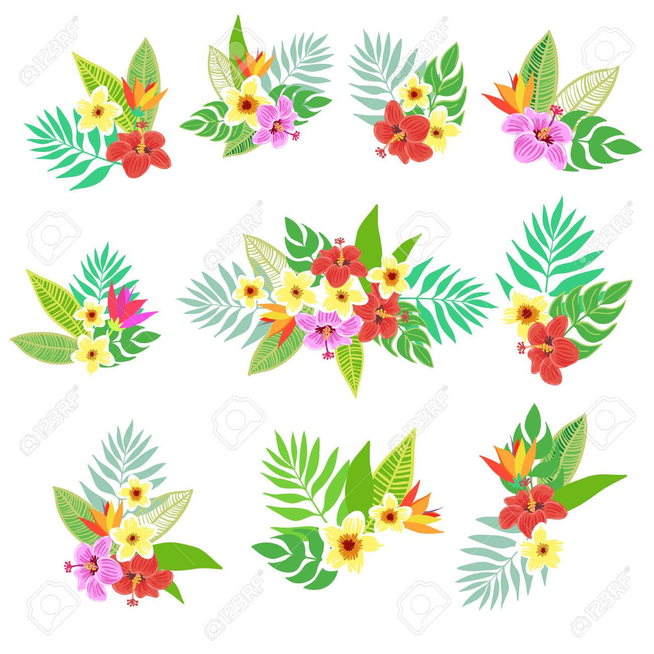 Belle Vecteur Floral Jungle Imprimer Avec Des Elements Bouquet Fleurs Colorees Tropicales Feuilles De Palmiers Et De Plantes D Hibiscus Paradis De Fleurs Bouquet Exotique Clip Art Libres De Droits Vecteurs Et