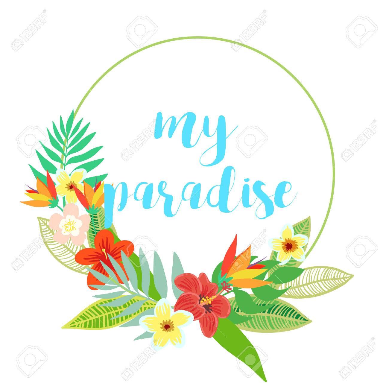Schöne Vektor Blumen Dschungel Rahmen Kranz. Bunte Tropische Blumen ...