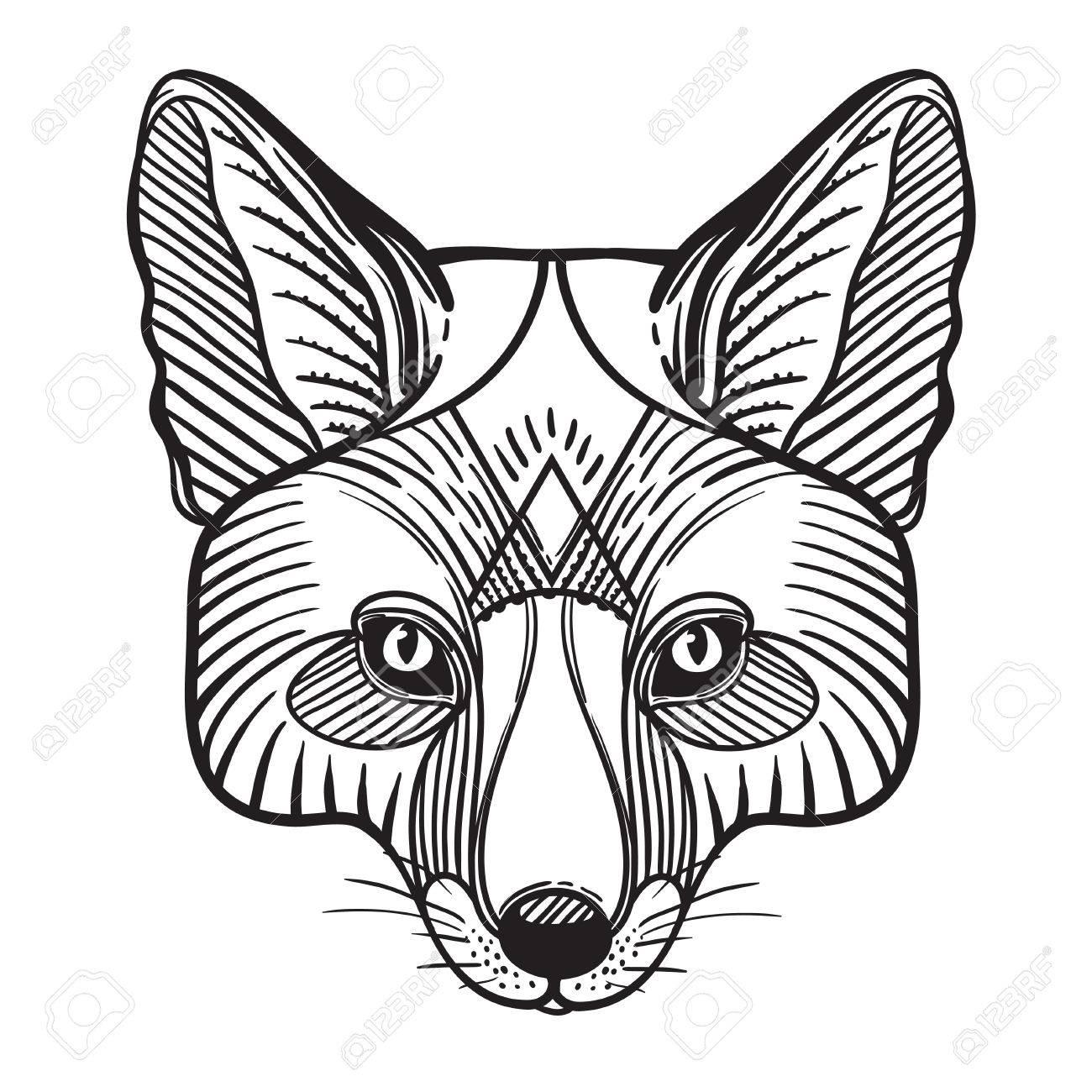 Tête De Renard Imprimé Animal Pour Coloriage Anti Stress Adulte Main Orné Motif Ethnique Dessinée Illustration Vectorielle Dessinez Pour Le