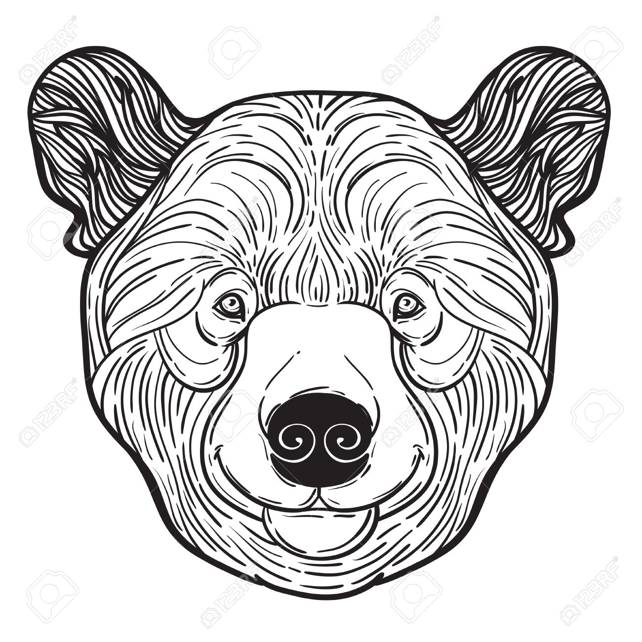 Animal Teddy Bear Head Print For Adult Anti Stress Coloring Page Ethnic Patterned Ornate Hand