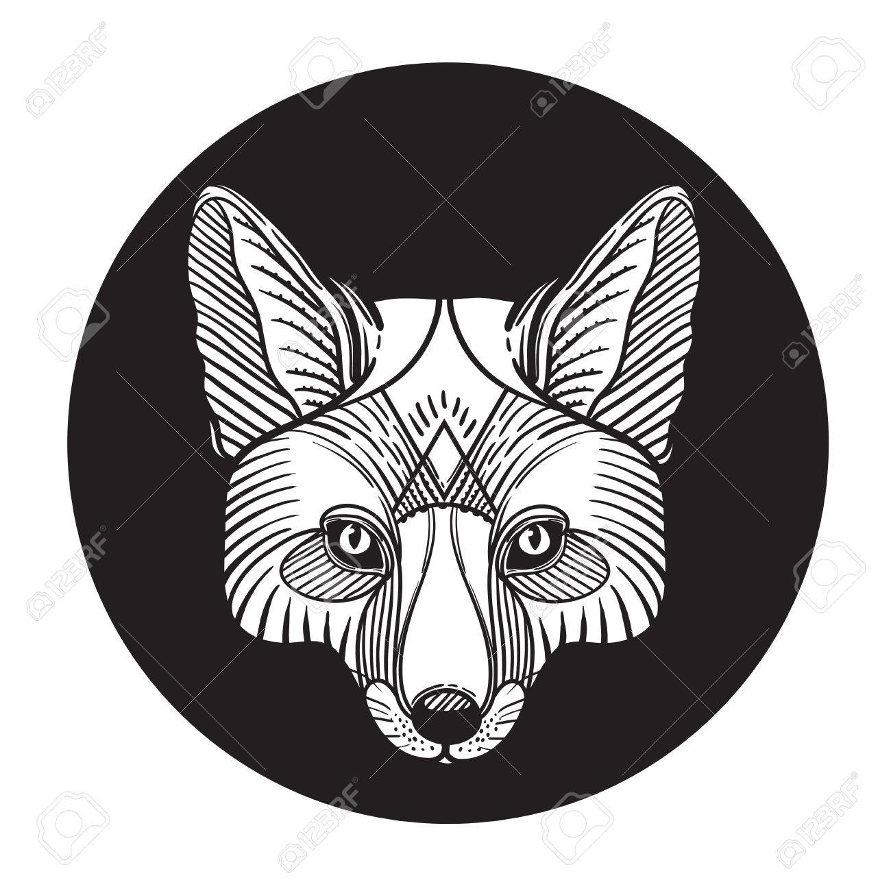 Animal Fox Head Print For Adult Anti Stress Coloring Page Ethnic Patterned Ornate Hand Drawn