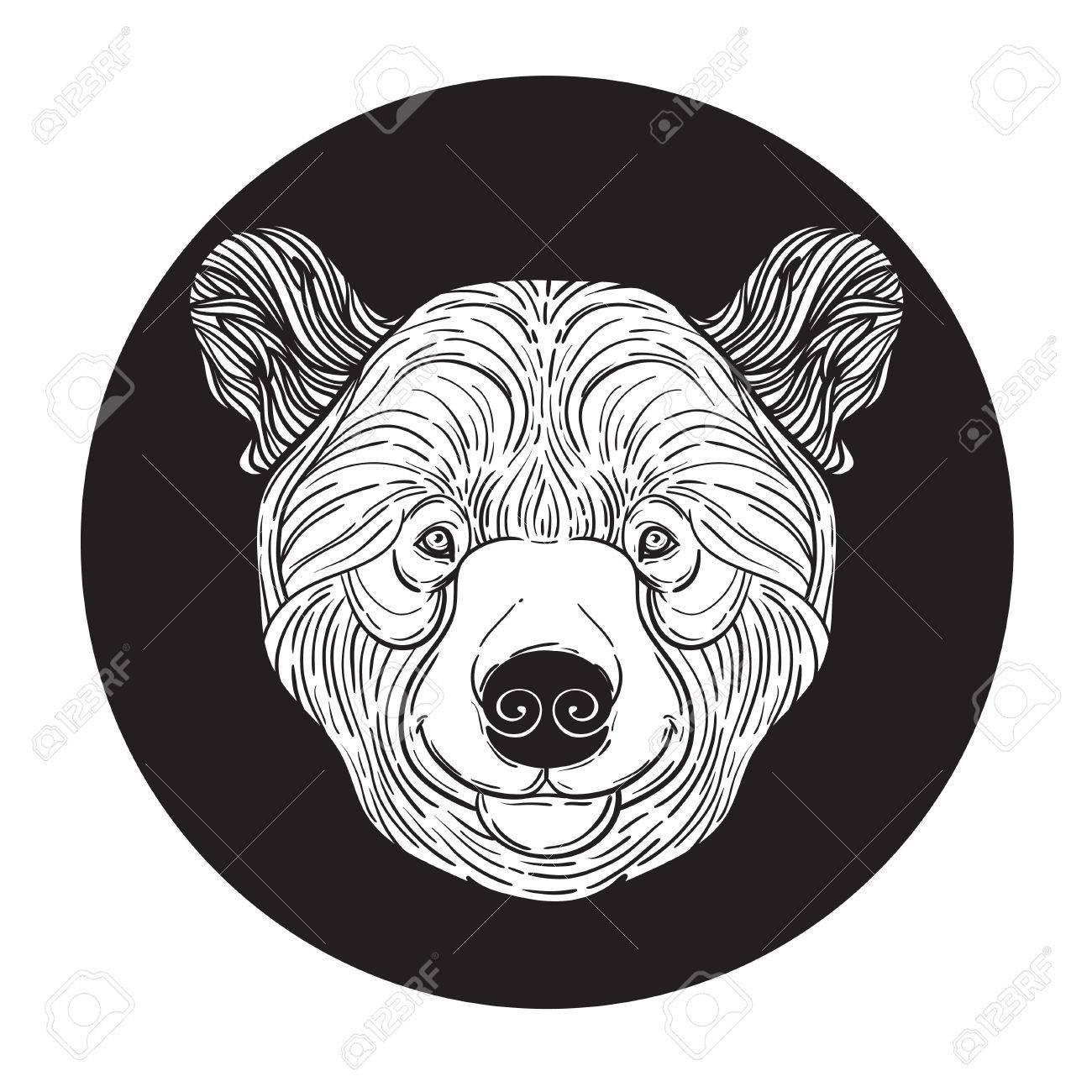 Tier Teddybär Druckkopf Für Erwachsene Anti-Stress-Färbung Seite ...