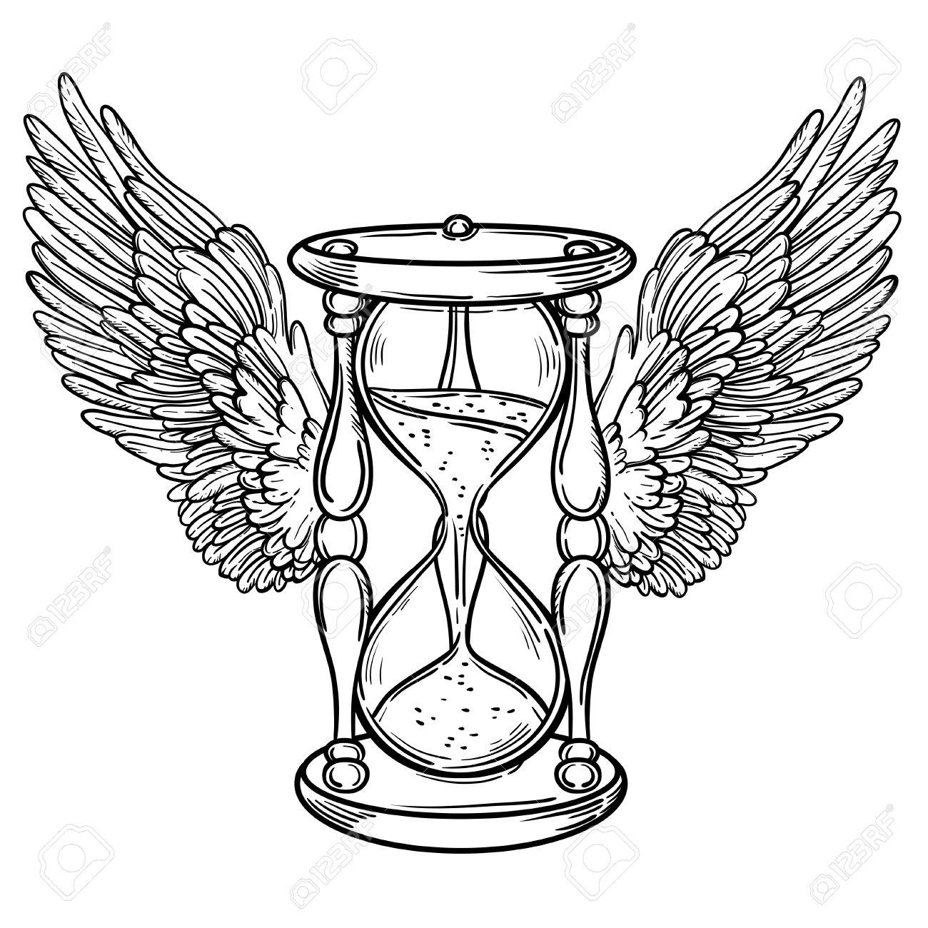 Decorativo Ilustración De Reloj De Arena Antiguo Con Alas Mano De Cartas Del Tarot Vector Dibujado Boceto Para El Tatuaje Dotwork Diseño