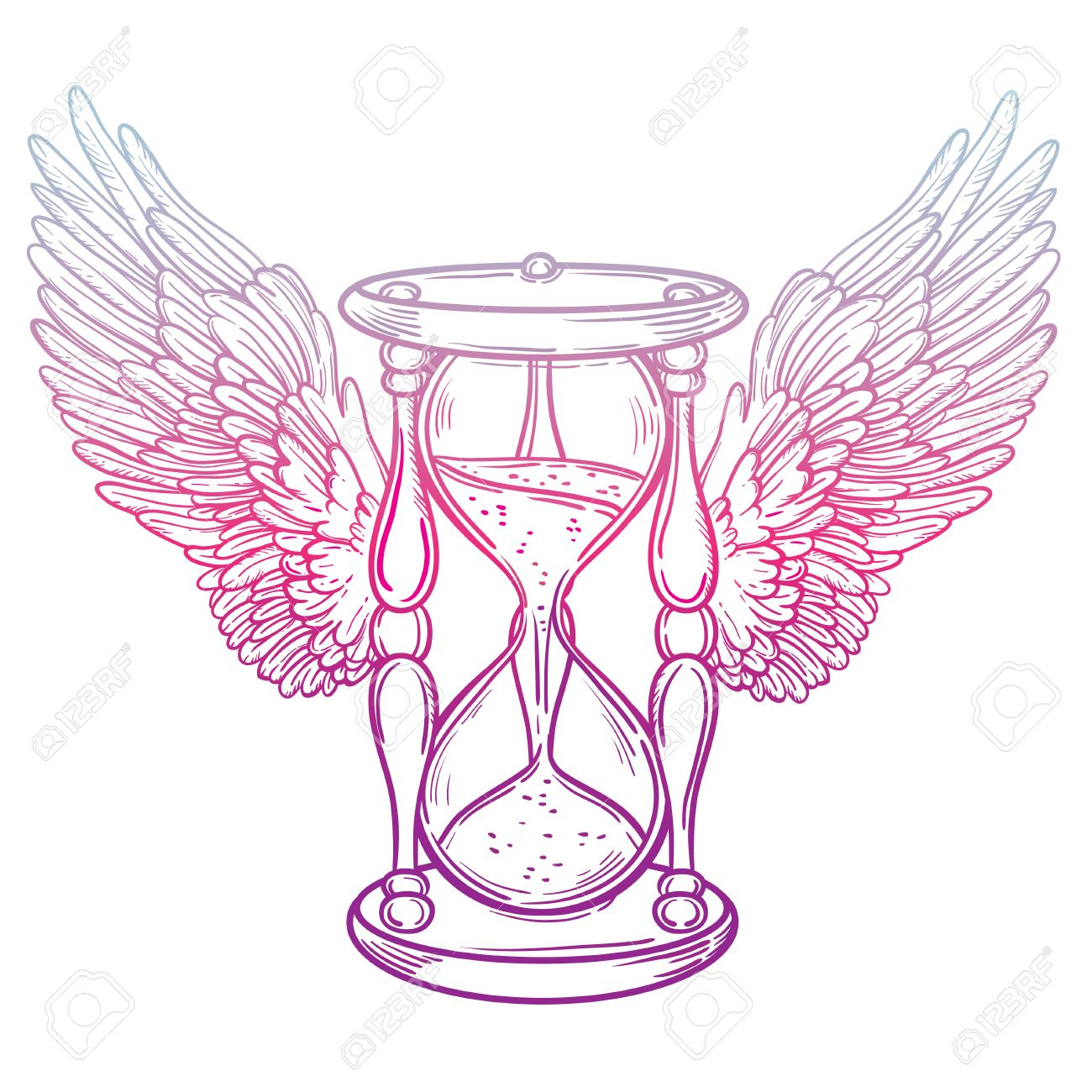 Coloring Book For Kids And Adults Decorative Antique Hourglass Illustration With Wings Hand Drawn Vector Tarot Card Sketch Dotwork