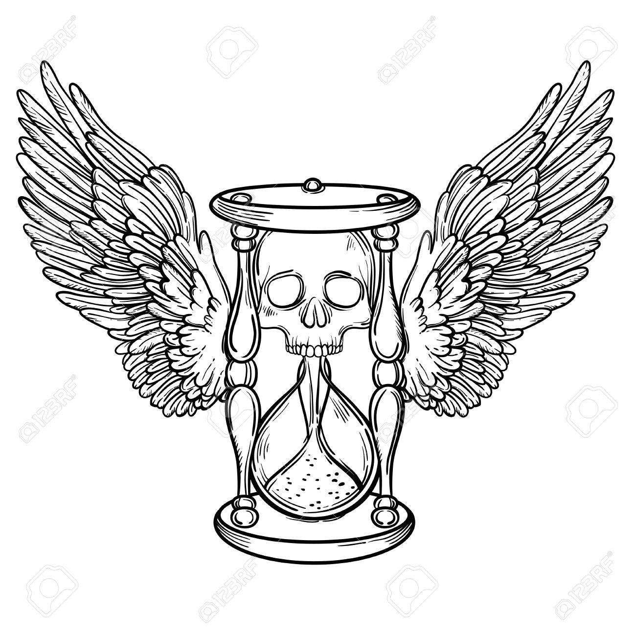 Decorativo Ejemplo Antiguo Reloj De Arena De La Muerte Con Alas Y El Cráneo Dibujado A Mano De Cartas Del Tarot Boceto De Tatuaje Diseño De La