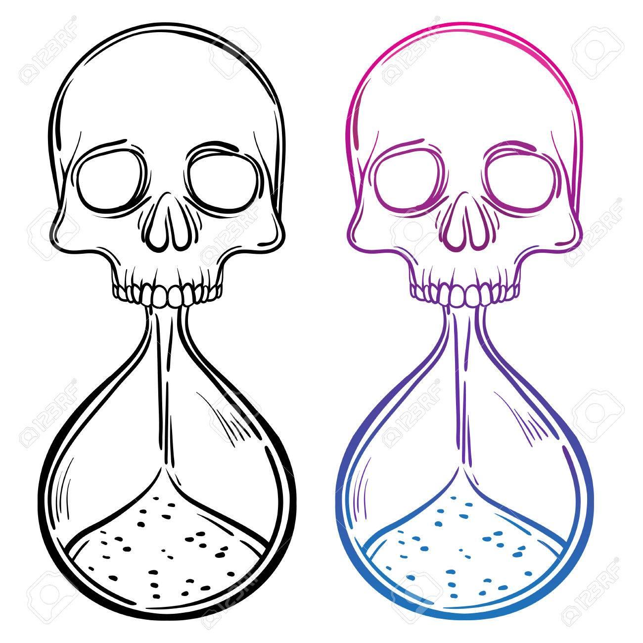 Decorativo Ejemplo Antiguo Reloj De Arena De La Muerte Con El Cráneo ...
