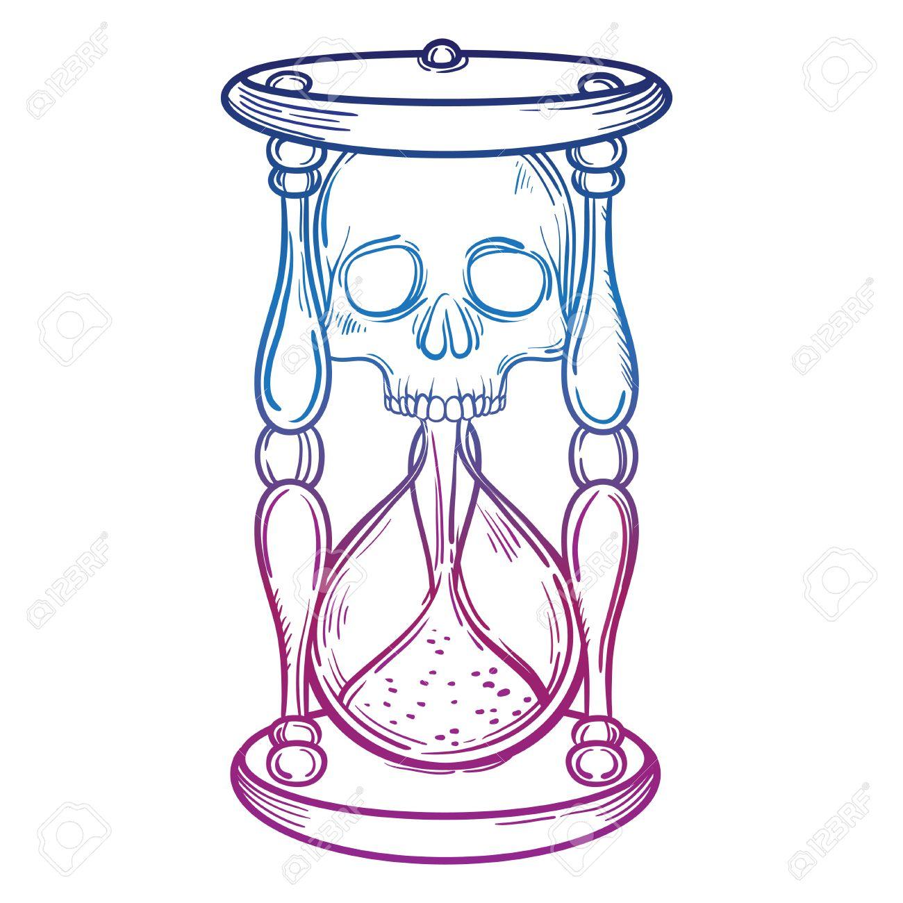 Decorativo Ejemplo Antiguo Reloj De Arena De La Muerte Con El Cráneo