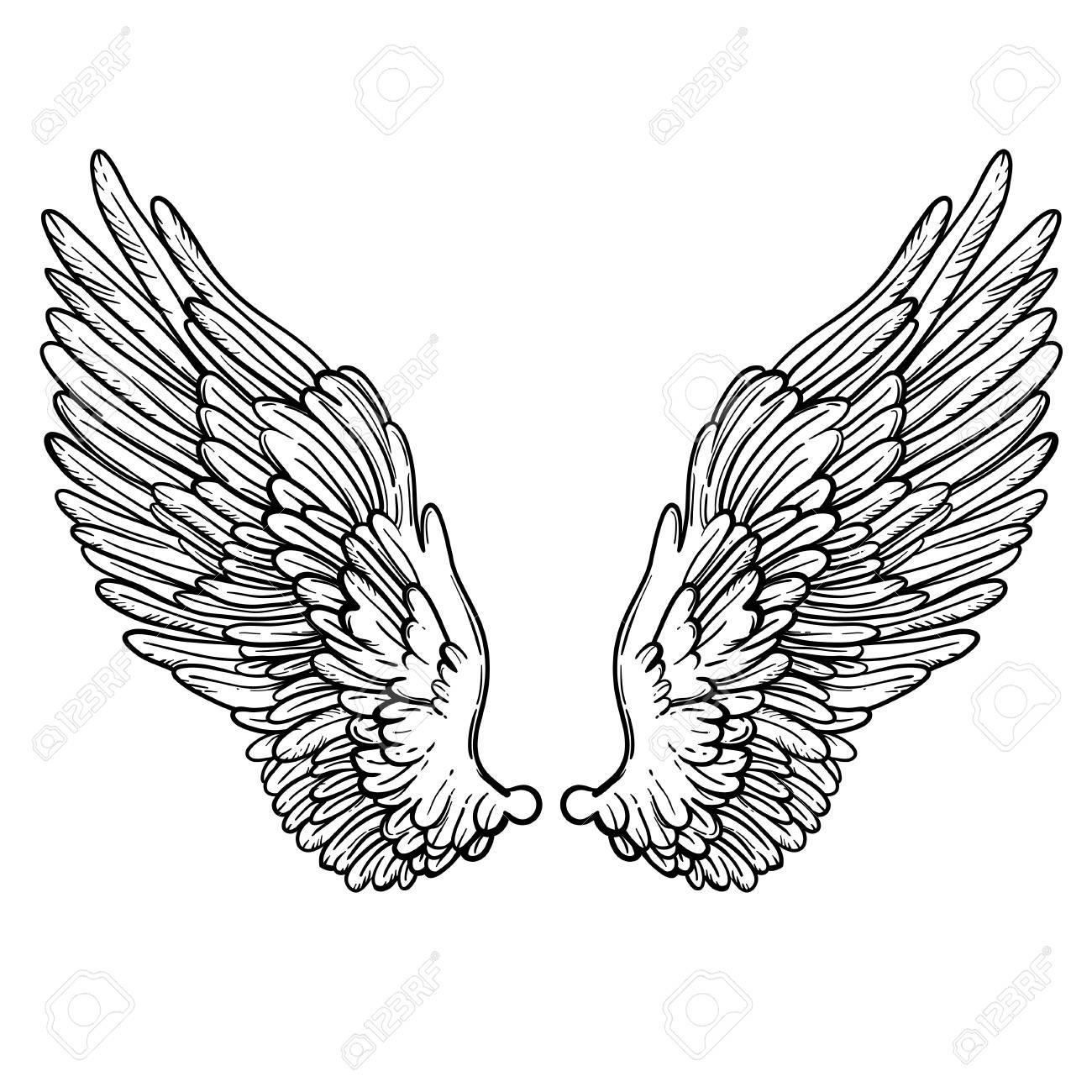 天使の羽のライン アート イラスト手描きの背景カードdotwork