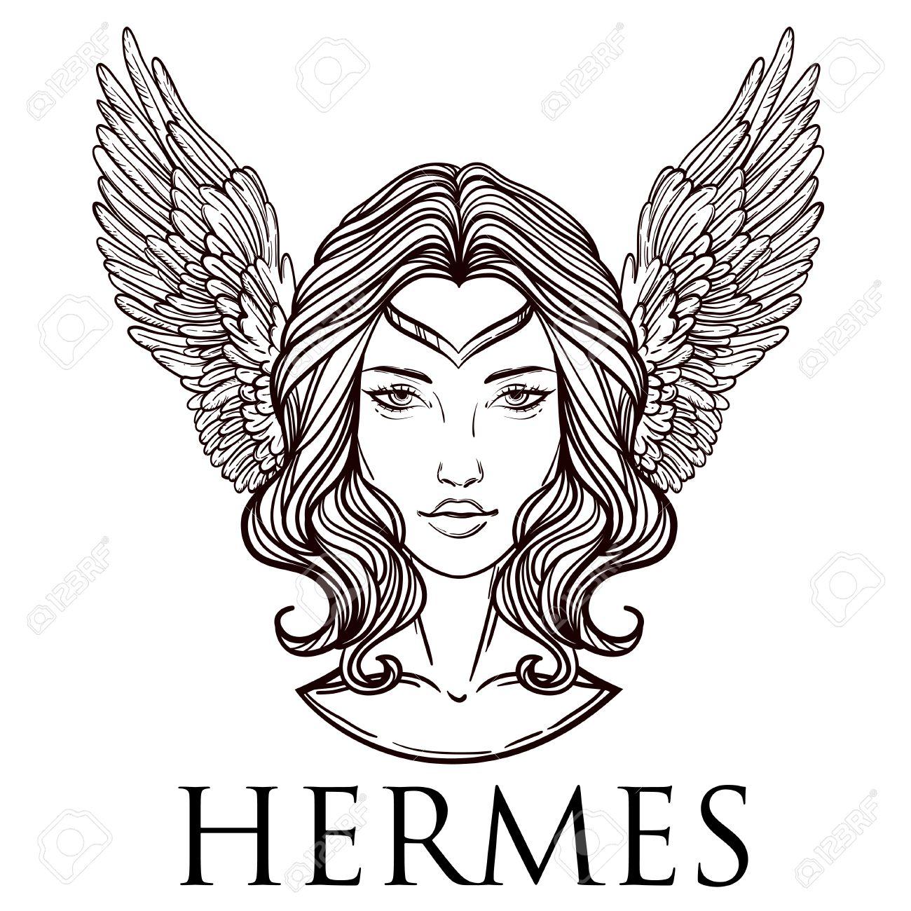 Ilustracion Del Vector Del Dios Griego Hermes En La Forma De Una