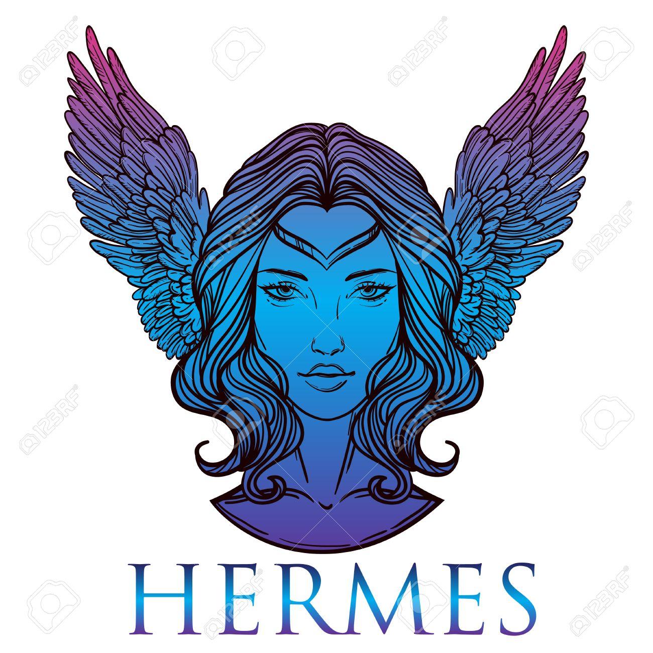 Vector Illustration Du Dieu Grec Hermes Sous La Forme D Une Femme
