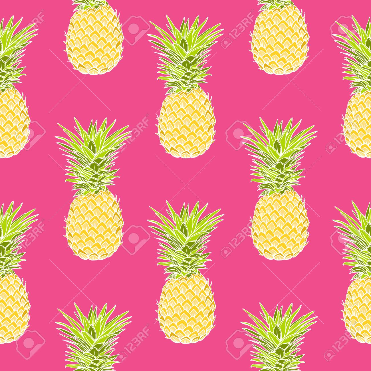 Ananas Vettore Tropicale Seamless La Moda Della Stampa Tessile