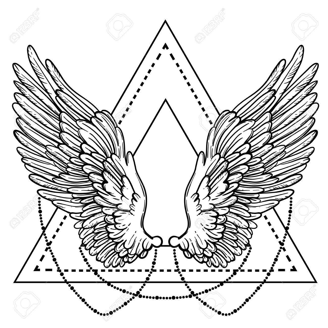 Línea Ilustración Del Arte De Las Alas Del ángel. Dibujado A Mano ...