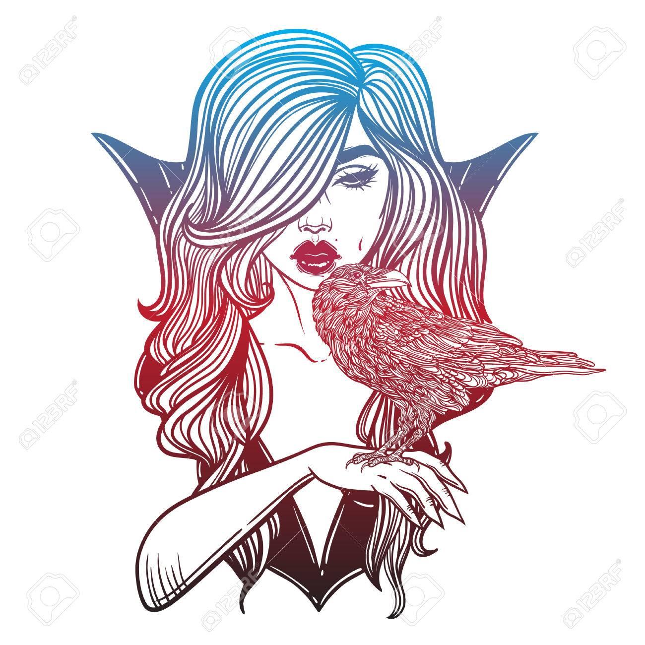 La Muchacha Del Vampiro Con La Mano Cuervo Dibujo De Línea. Dibujado ...