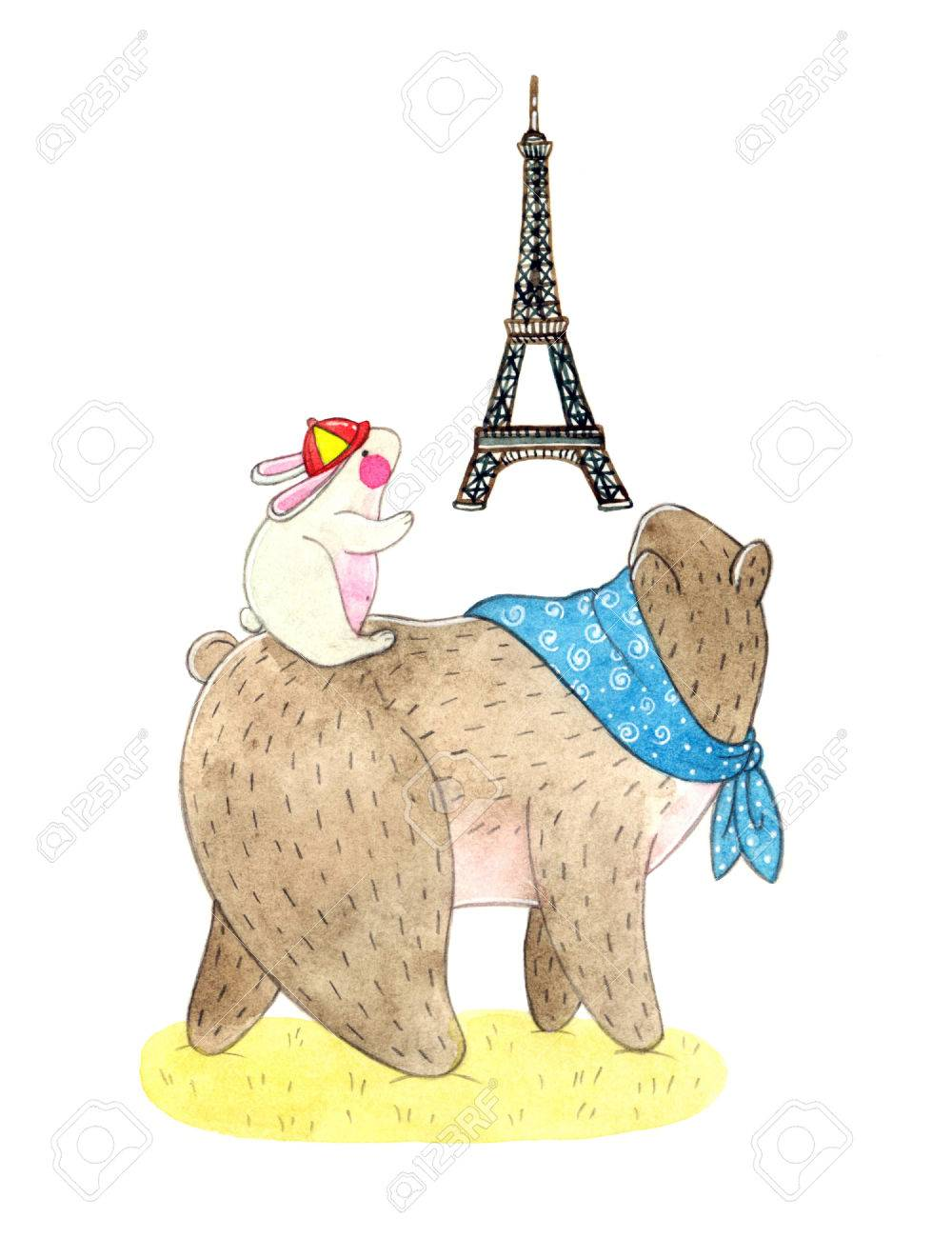 Watercolor Illustration Of A Cute Teddy Bear And Bunny And National