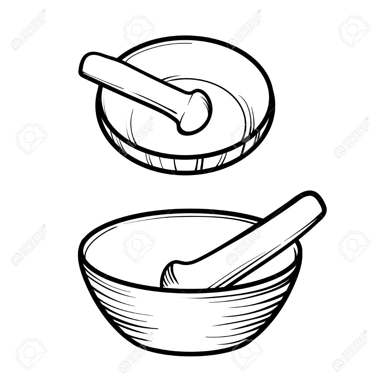 Mortar And Pestle. Linear Logo Illustration. Cooking Utensils ...