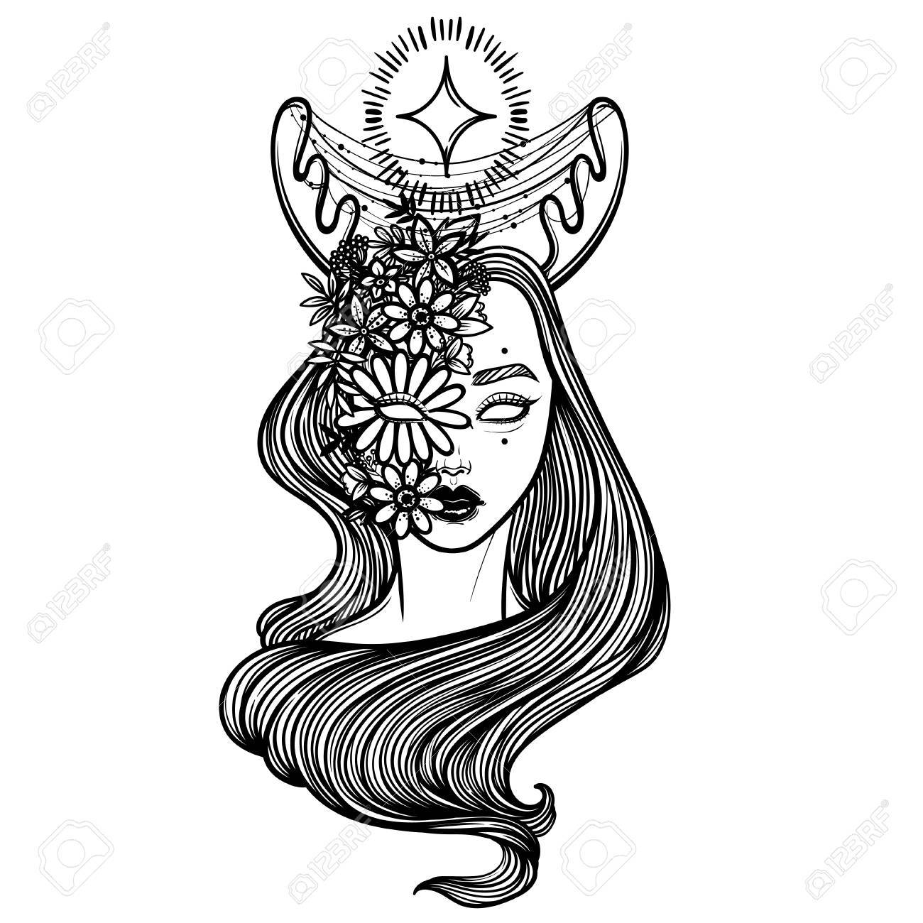Illustration With Beautiful Girl Dryad. Mythical Female Deer ...