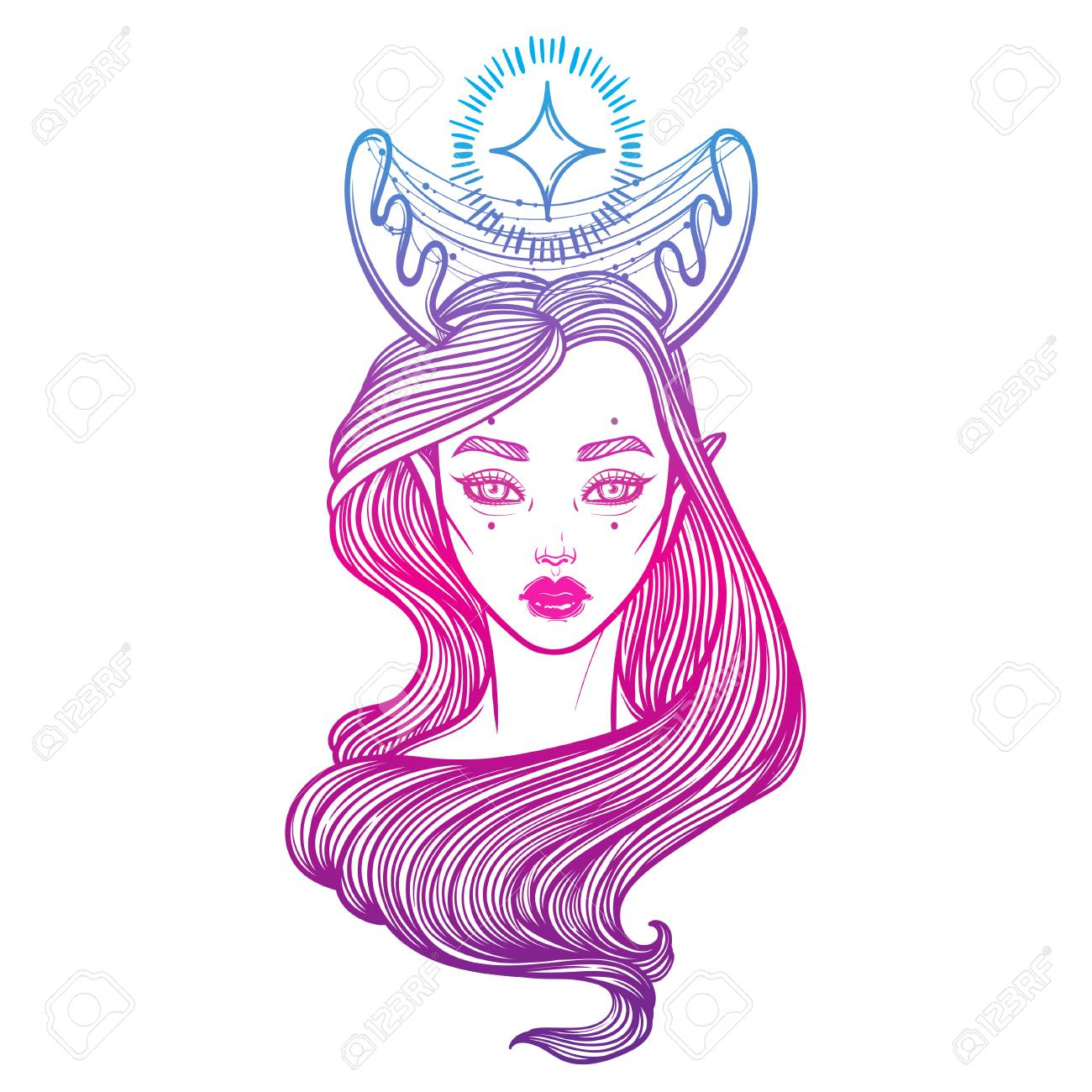 Illustration with beautiful girl Dryad. Mythical female deer...