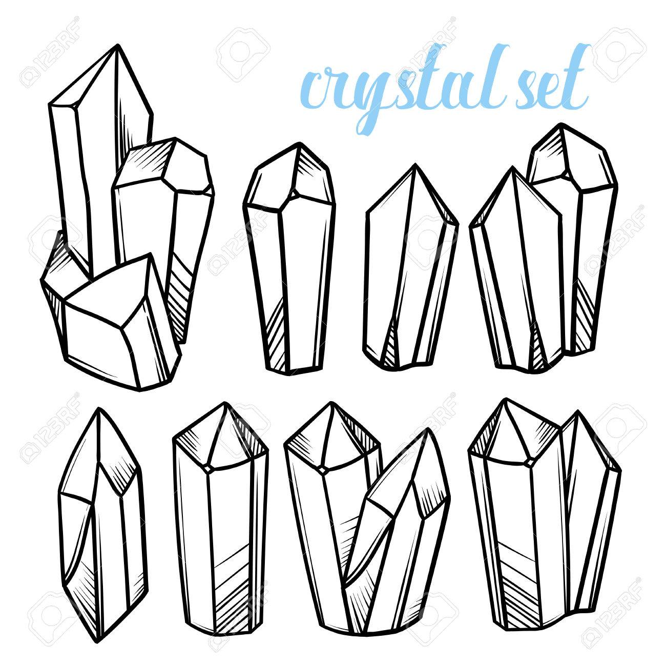 set of vector magic crystals icons of mineral stones royalty free