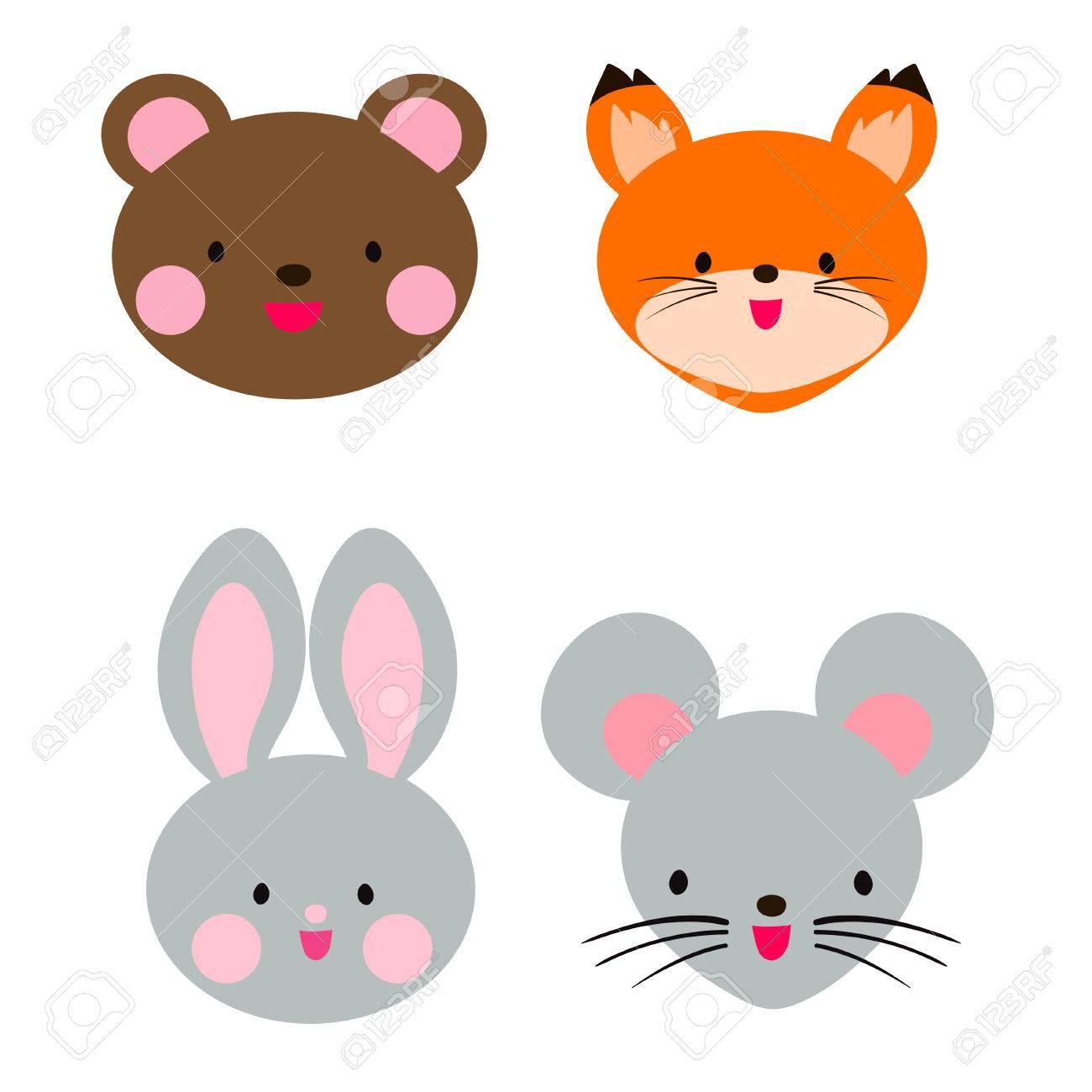 Cabeza De Animal Lindo. Oso De Peluche, Conejo, Zorro Y El Ratón ...