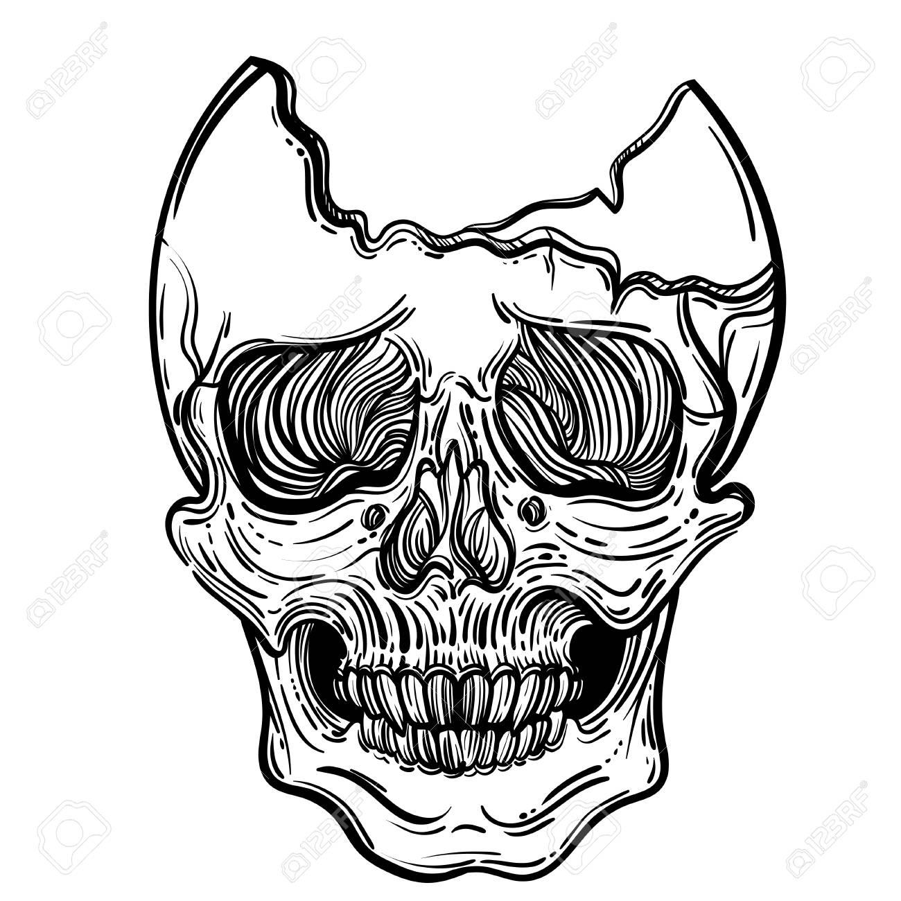 Ilustración De Vector Con Un Cráneo Humano Cráneo Brutal Gótico Para Imprimir Camisetas O Colorear Libros