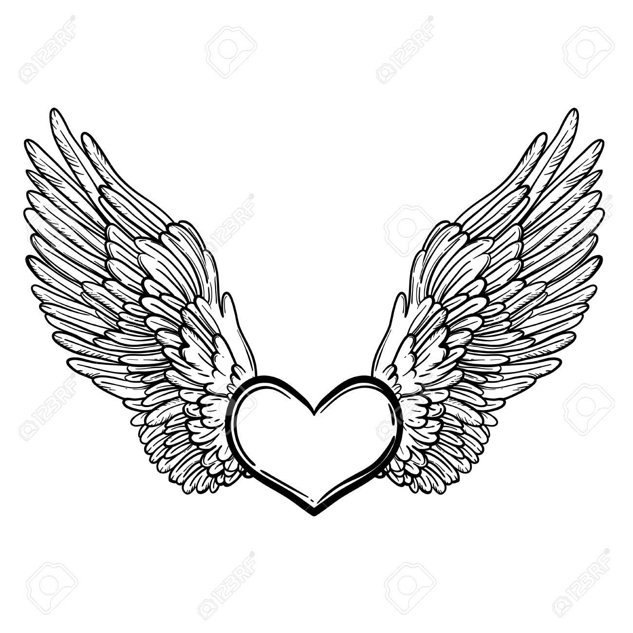 Line Art Illustration Of Angel Wings And Heart Vintage Print