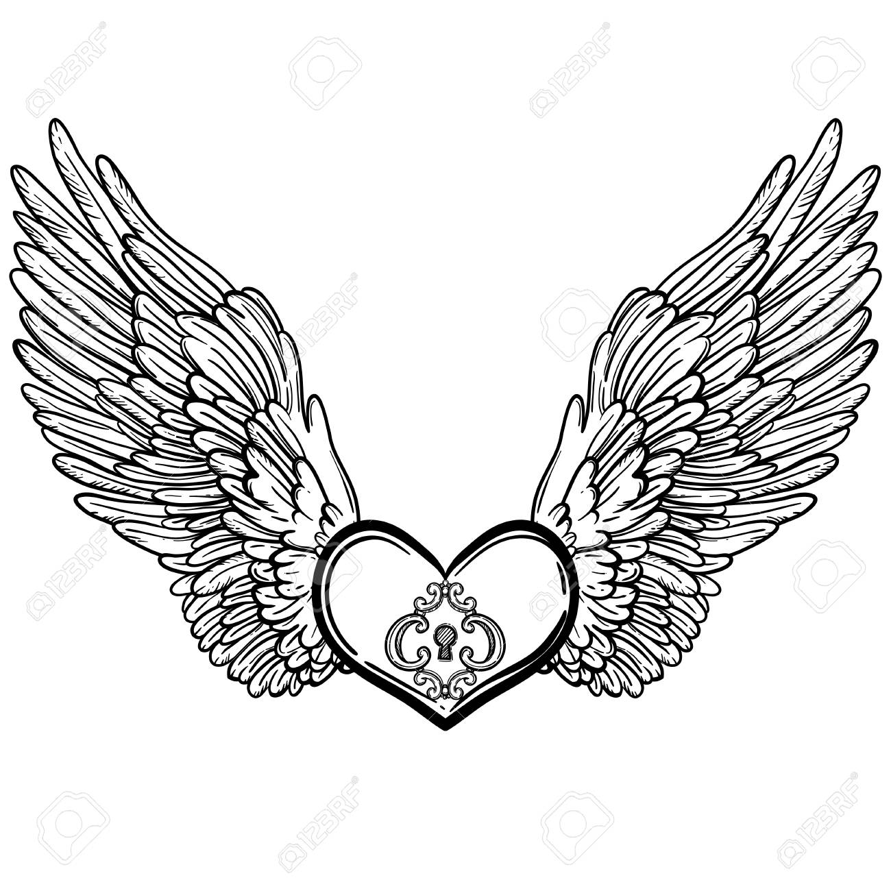 Line Art Illustration Of Angel Wings And Heart Vintage Print