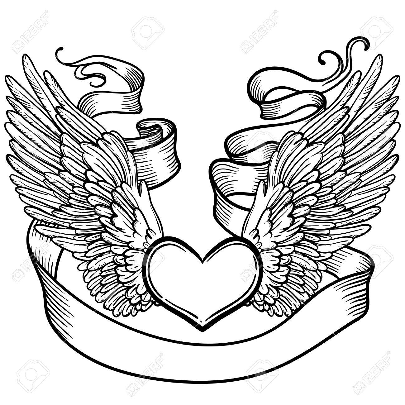 Line Art Illustration Of Angel Wings Heart Tape Vintage Print