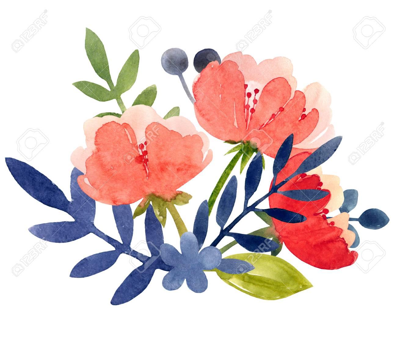 牡丹の葉と水彩イラストは白い背景の上の美しい花植物のイラスト