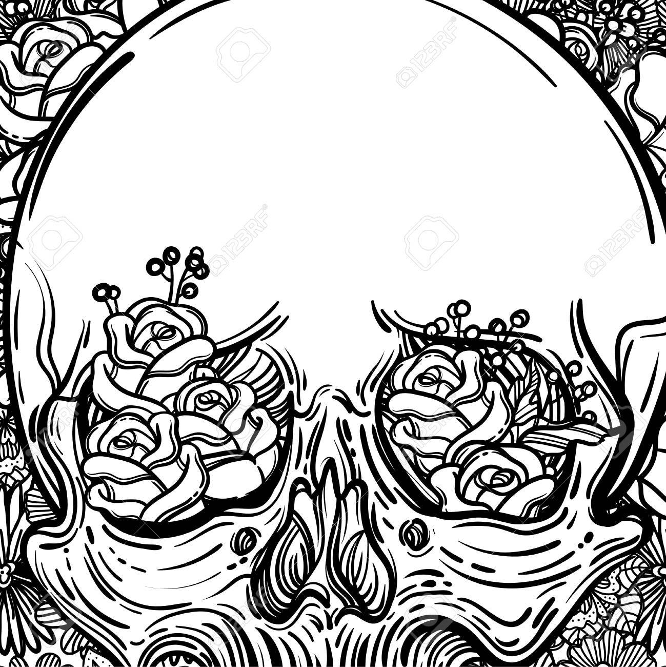 Ilustración Del Arte De Línea. Cráneo Asustadizo Y Flores. Impresión ...