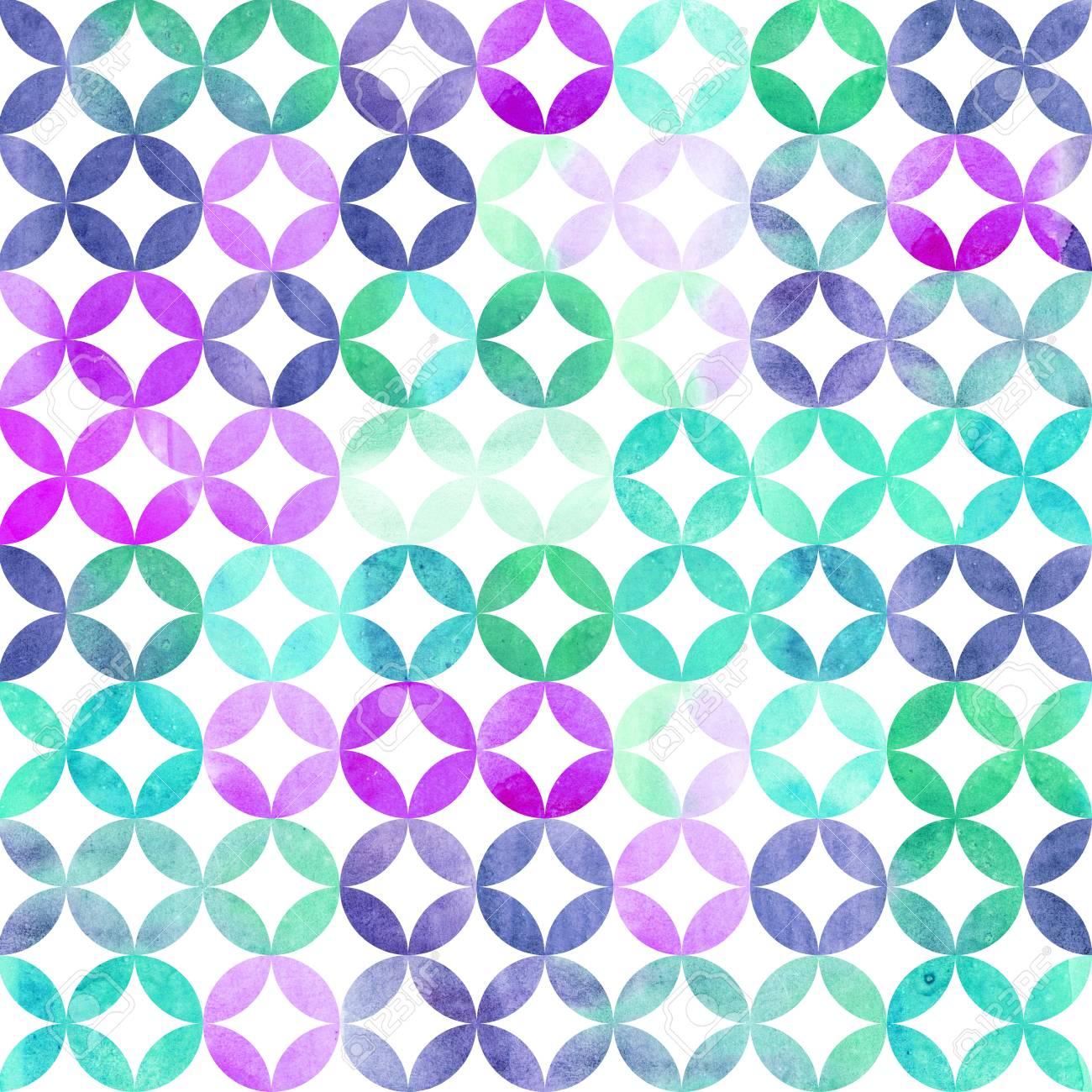 Watercolor Abstract Pattern. Arab Tiles. Geometric Pattern With ...